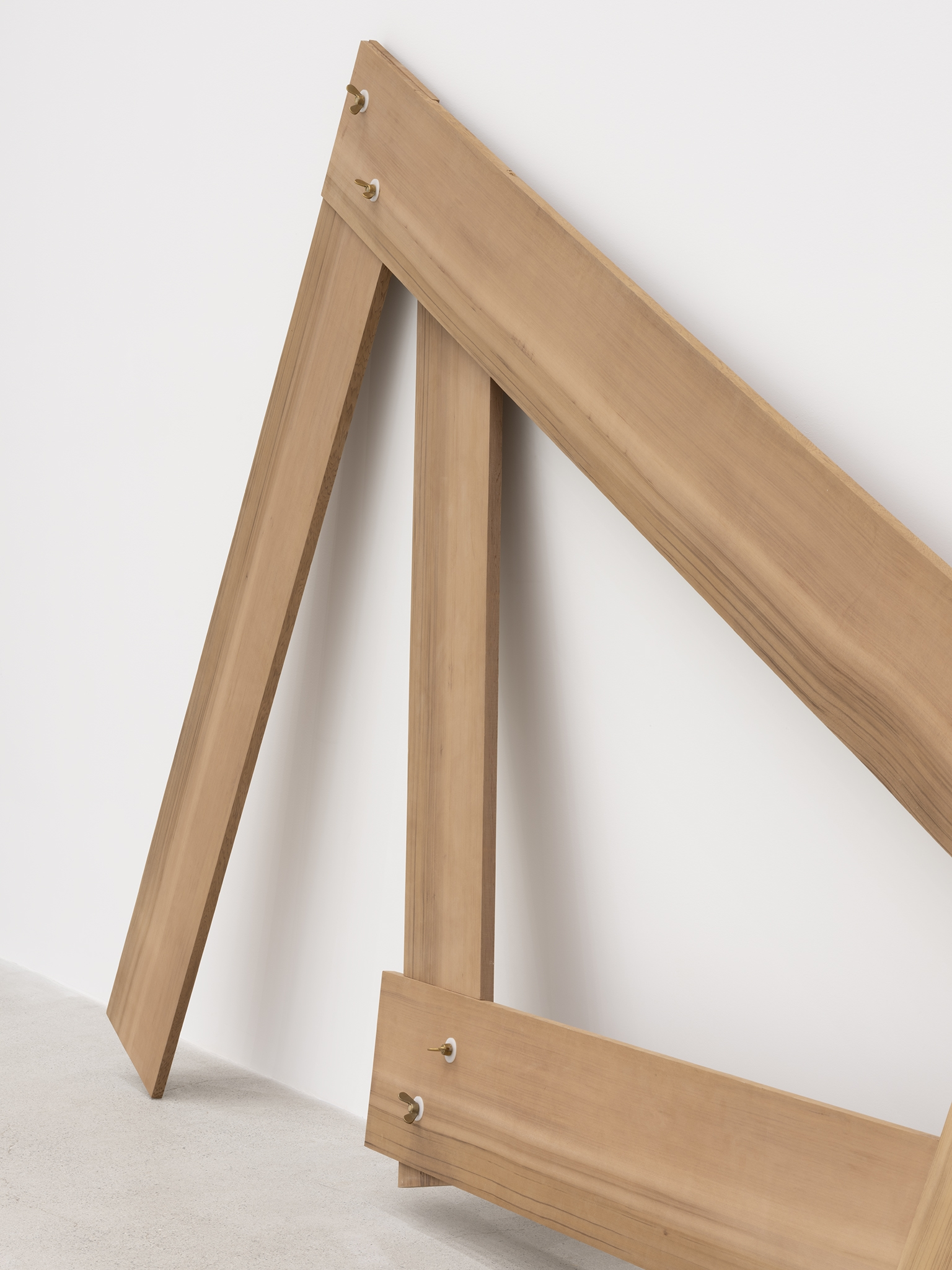 Christina Mackie, Lots/lost (The confusion part I) (detail), 2012, cedar, brass, nylon, 94 x 388 x 19 in. (238 x 986 x 48 cm) by