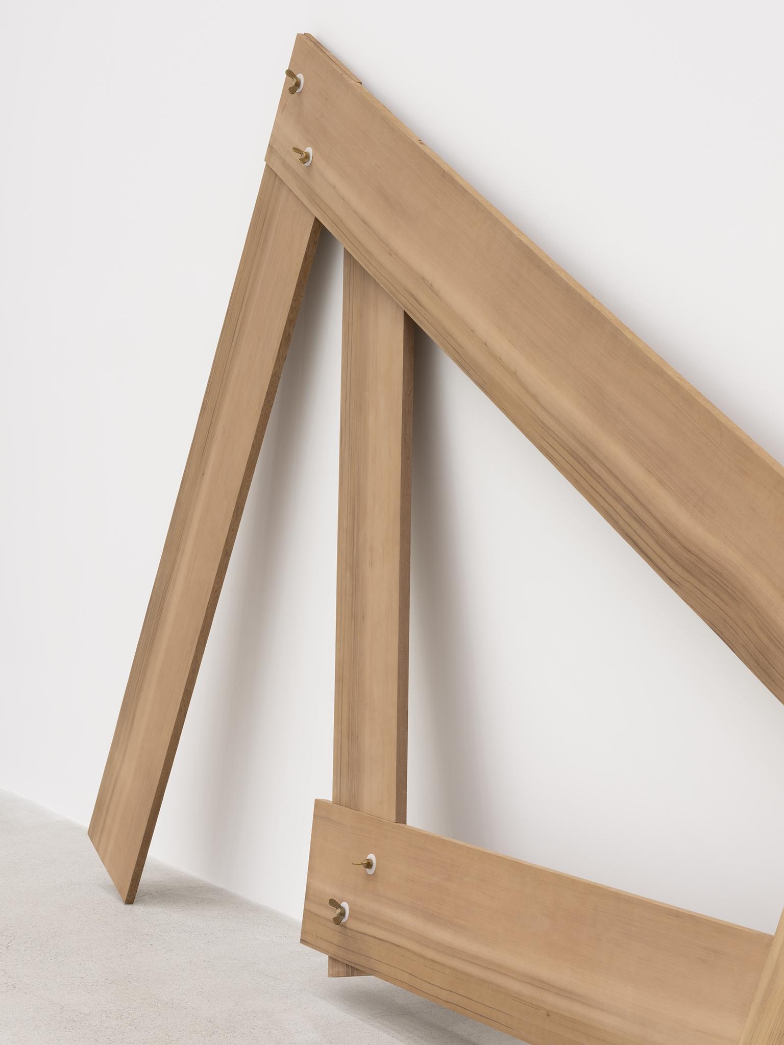 Christina Mackie, Lots/lost (detail), 2012, cedar, brass, nylon, 94 x 388 x 19 in. (238 x 986 x 48 cm) by
