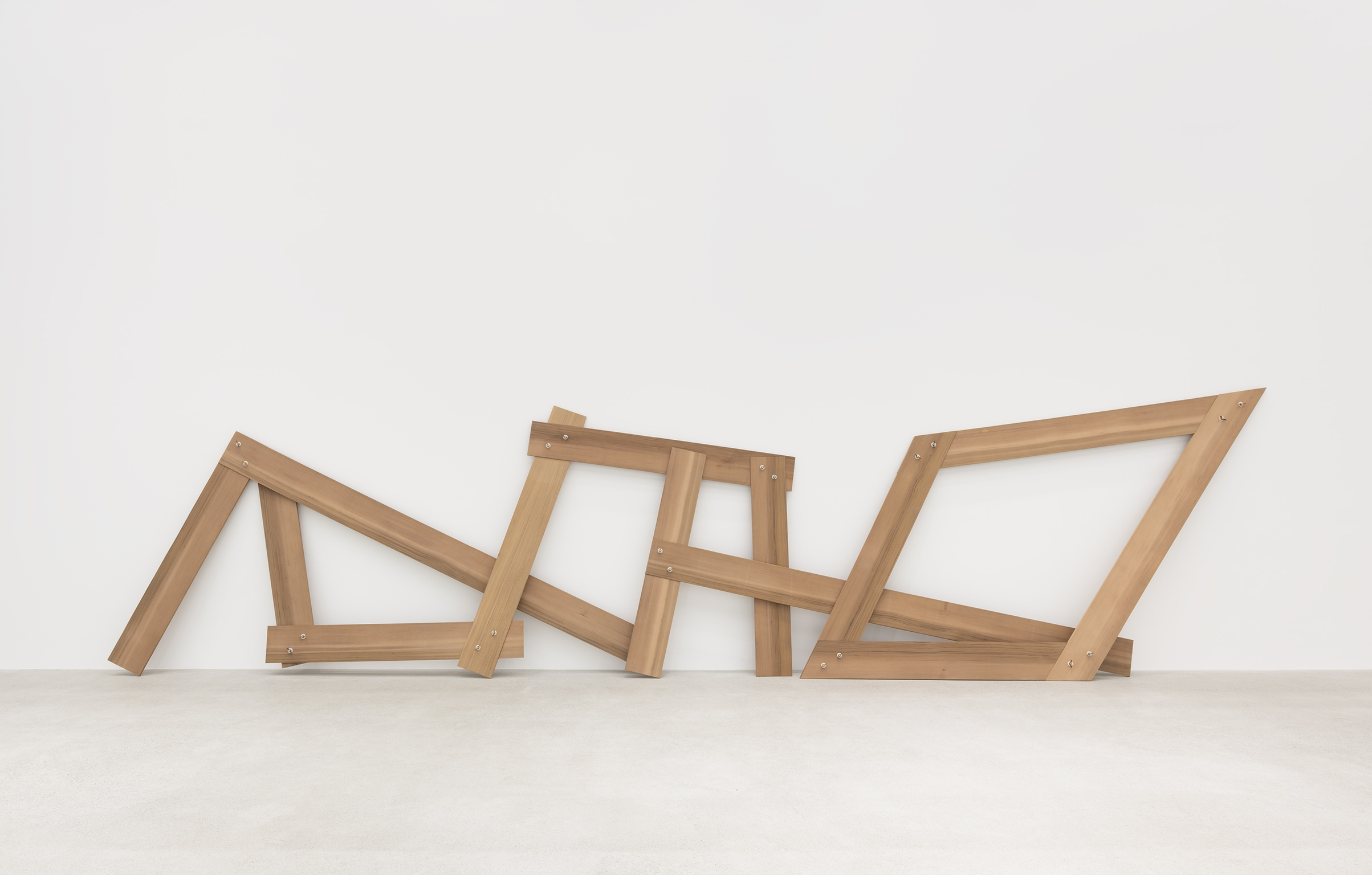 Christina Mackie, Lots/lost (The confusion part I), 2012, cedar, brass, nylon, 94 x 388 x 19 in. (238 x 986 x 48 cm) by