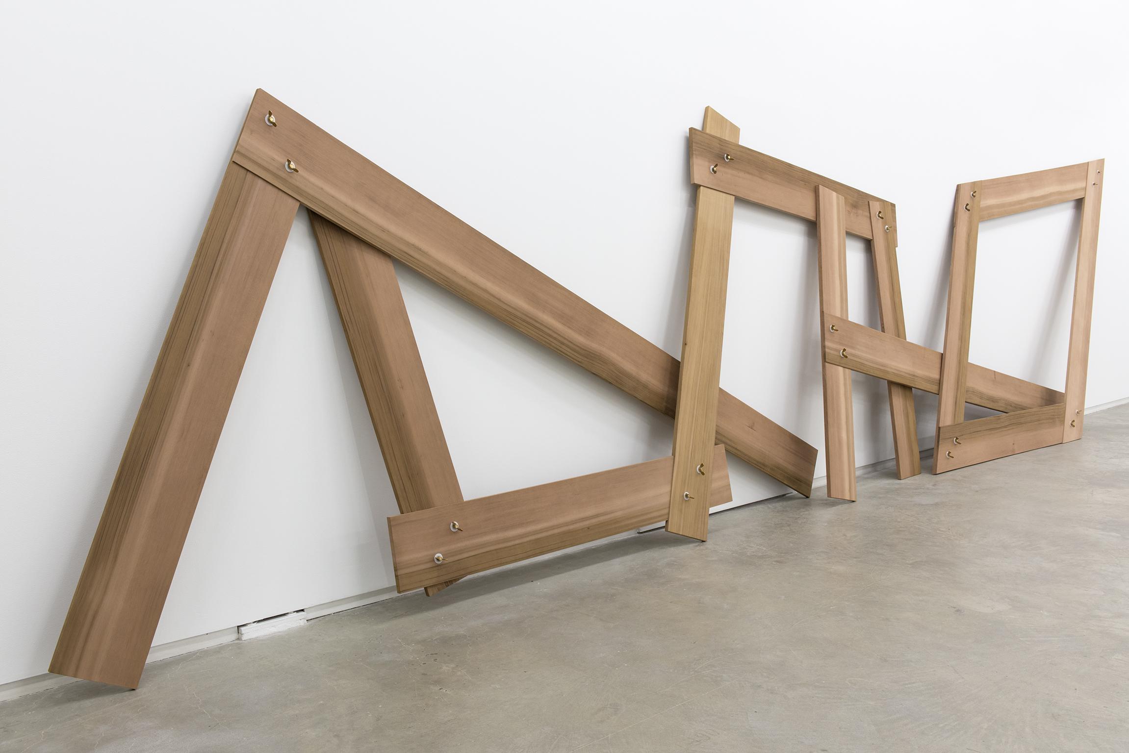 Christina Mackie, Lots/lost, 2012, cedar, brass, nylon, 94 x 388 x 19 in. (238 x 986 x 48 cm) by