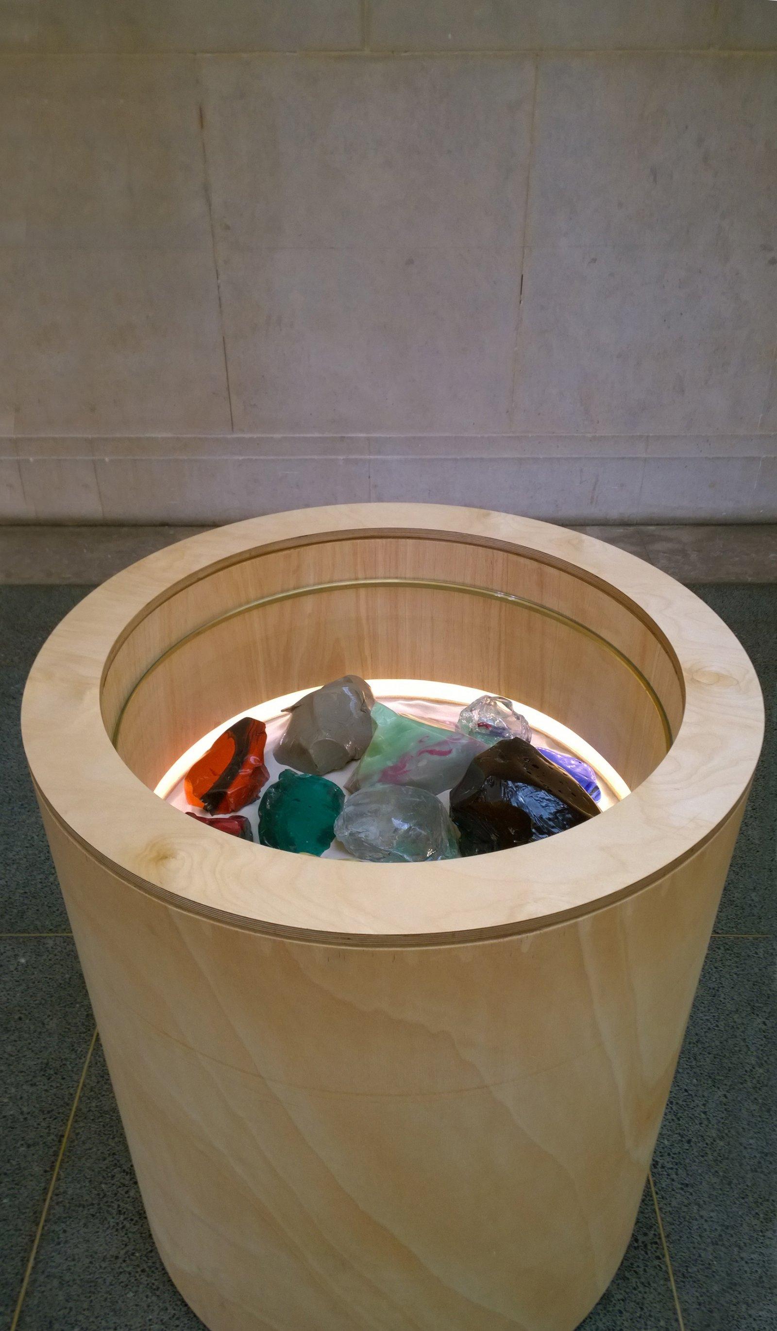 Christina Mackie, Cullet bin, 2015, wood, sand, glass, amiran, brass, batteries, led lights, lock, 46 x 38 x 38 in. (118 x 97 x 97 cm) by Christina Mackie
