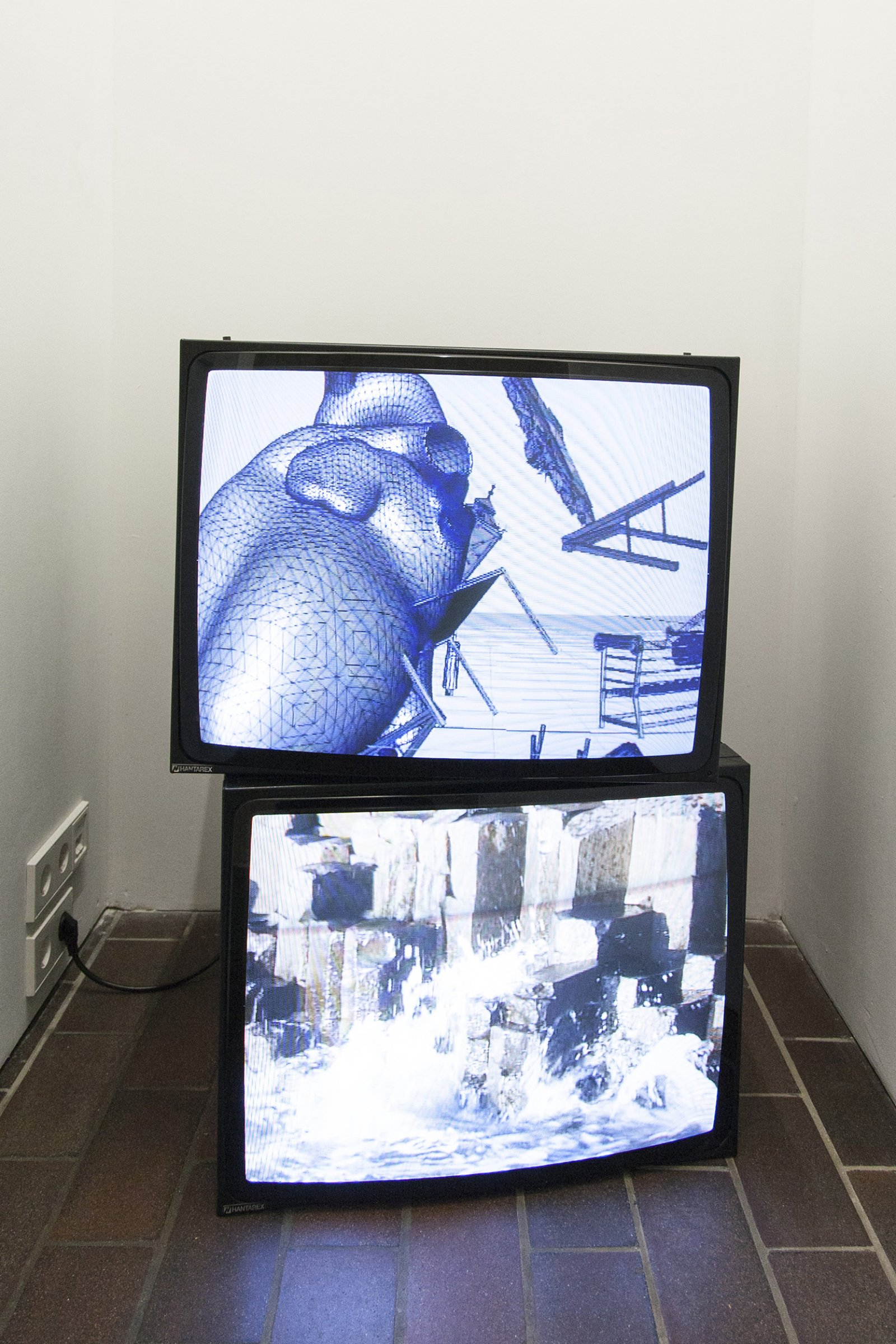 ​​​​​Christina Mackie, Fall Force​ and ​Planet, 2012, DVD, loop 11 minutes, 49 seconds. Installation view, ​And Bird, PRAXES, Berlin, 2014​​​​​​ by Christina Mackie