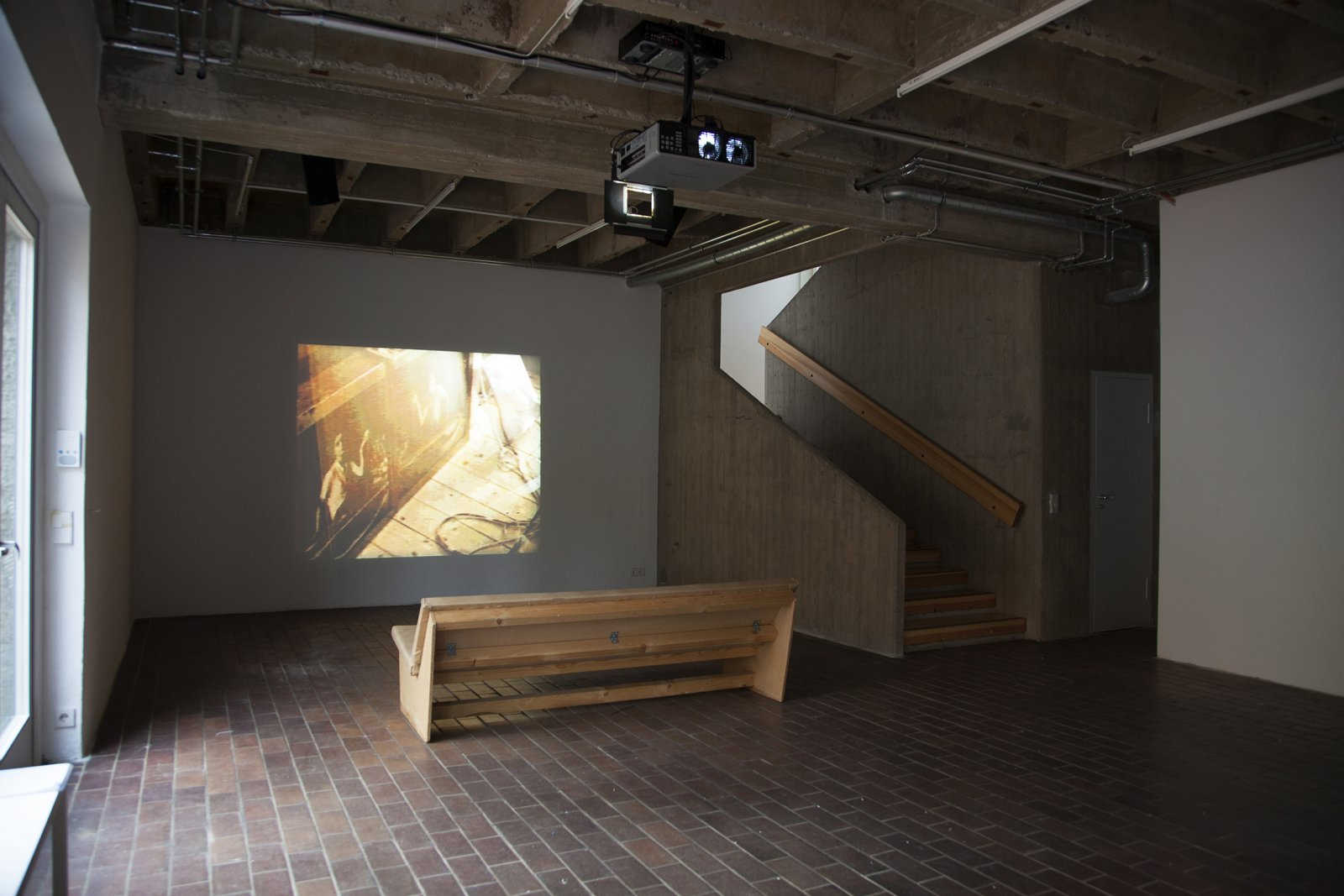 ​​​Christina Mackie, Foo, 1994, video, loop 11 minutes, 8 seconds. Installation view, ​Frog And​, PRAXES, Berlin, 2014​​ by Christina Mackie