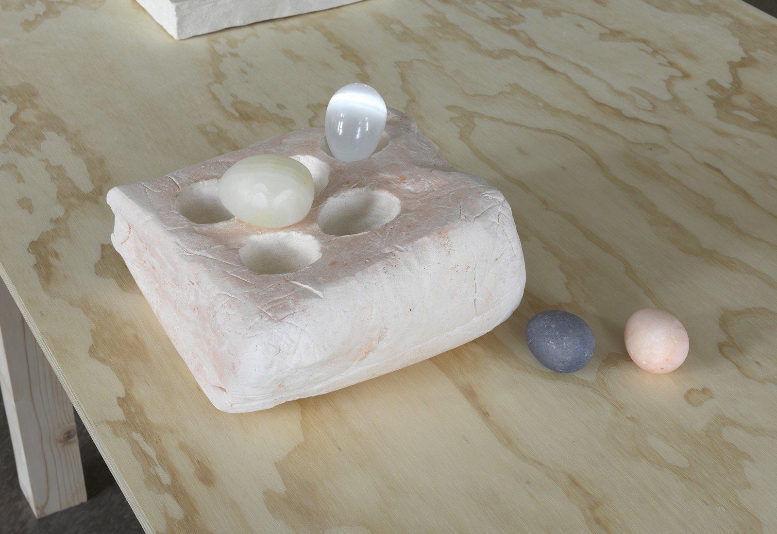Christina Mackie, Palette no. 1, 2014, stoneware, rose quartz, selenite, alabaster onyx, 10 x 8 x 6 in. (25 x 20 x 14 cm) by Christina Mackie