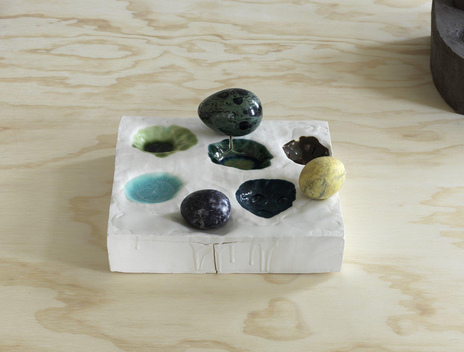 Christina Mackie, Palette no. 5, 2014, porcelain stoneware, orbicular jasper, marble, sodalite, pigment, resin, 8 x 9 x 9 in. (20 x 22 x 24 cm) by Christina Mackie