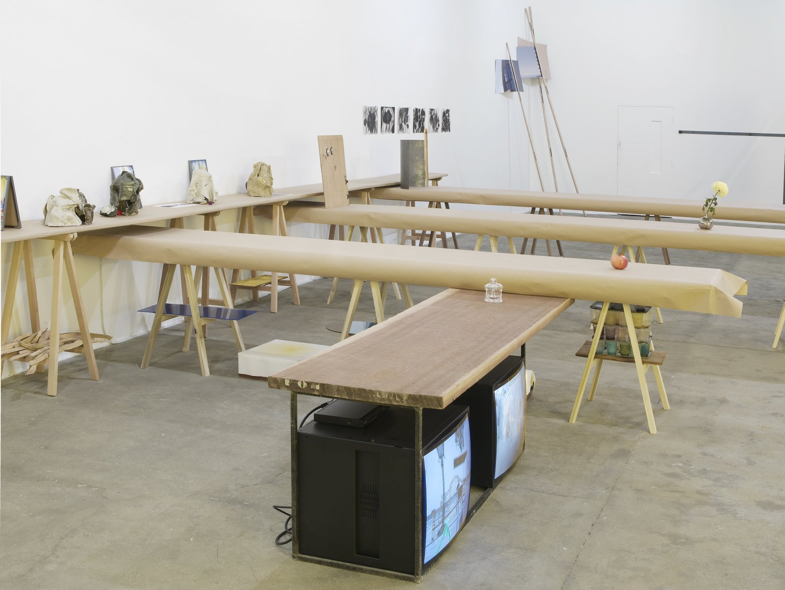 Christina Mackie, The Judges II, 2011–2012, mixed media, dimensions variable. Installation view, Painting the Weights, Chisenhale Gallery, London, UK, 2012 by Christina Mackie