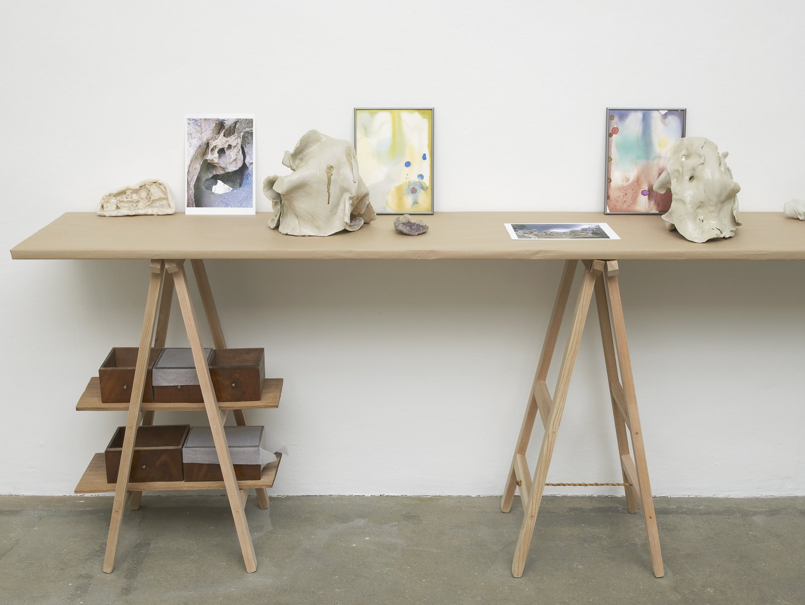 Christina Mackie, The Judges II (detail), 2011–2012, mixed media, dimensions variable. Installation view, Painting the Weights, Chisenhale Gallery, London, UK, 2012 by Christina Mackie