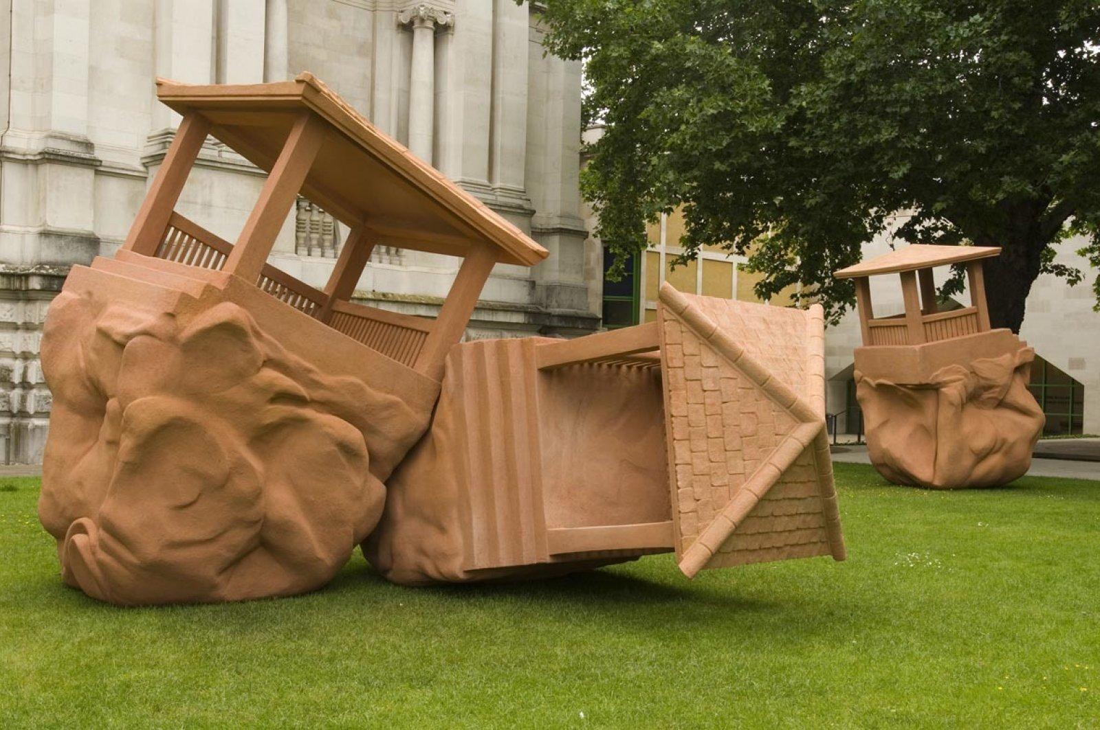 Christina Mackie, The Large Huts, 2007, steel, polystyrene, acrylic cement render, dimensions variable. Installation view, Art Now Sculpture Court, Tate Britain, London, UK by Christina Mackie