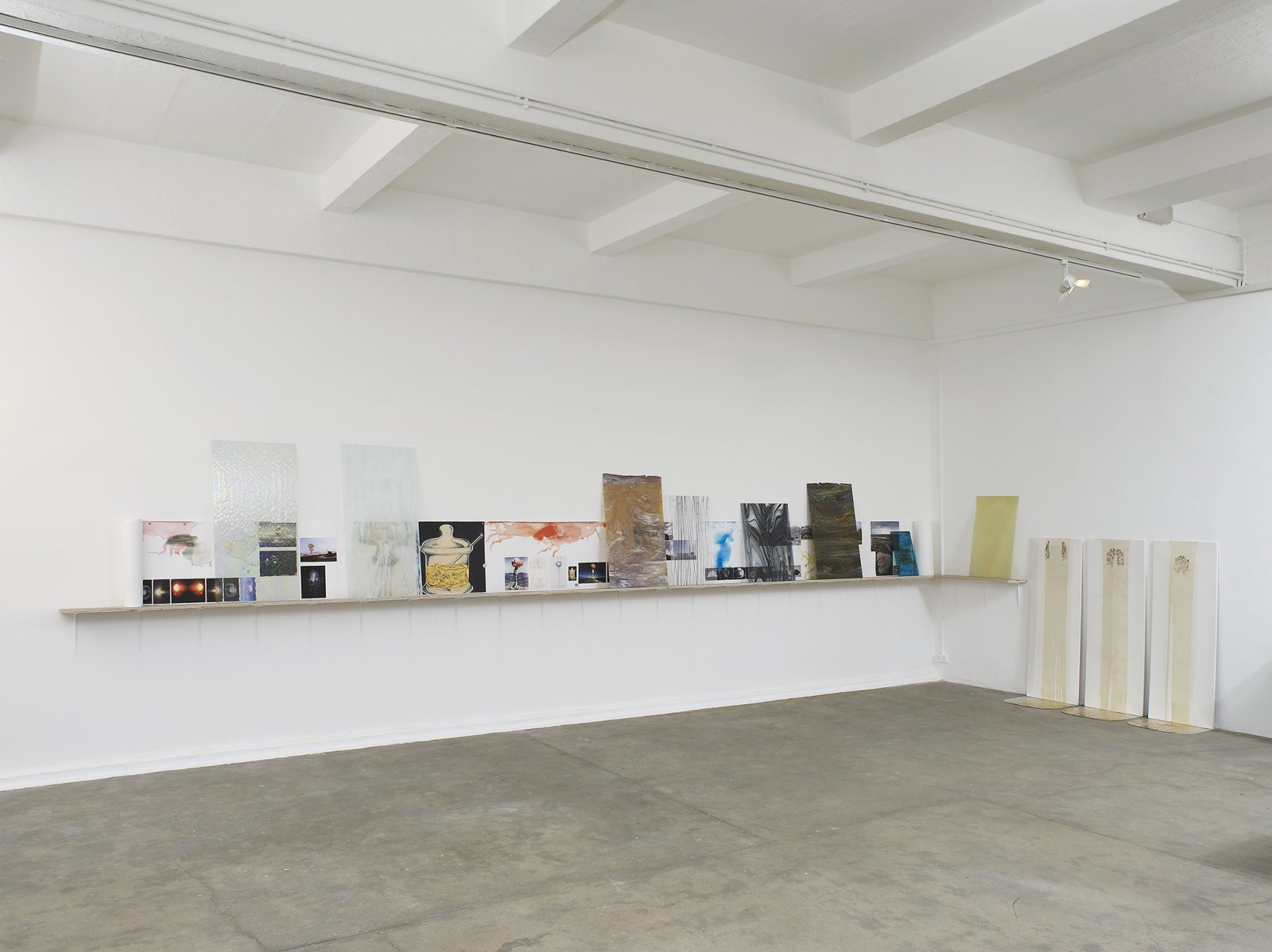 Christina Mackie, The Roiling, 2012, mixed media, dimensions variable. Installation view, Painting the Weights, Chisehale Gallery, London, UK, 2012 by Christina Mackie