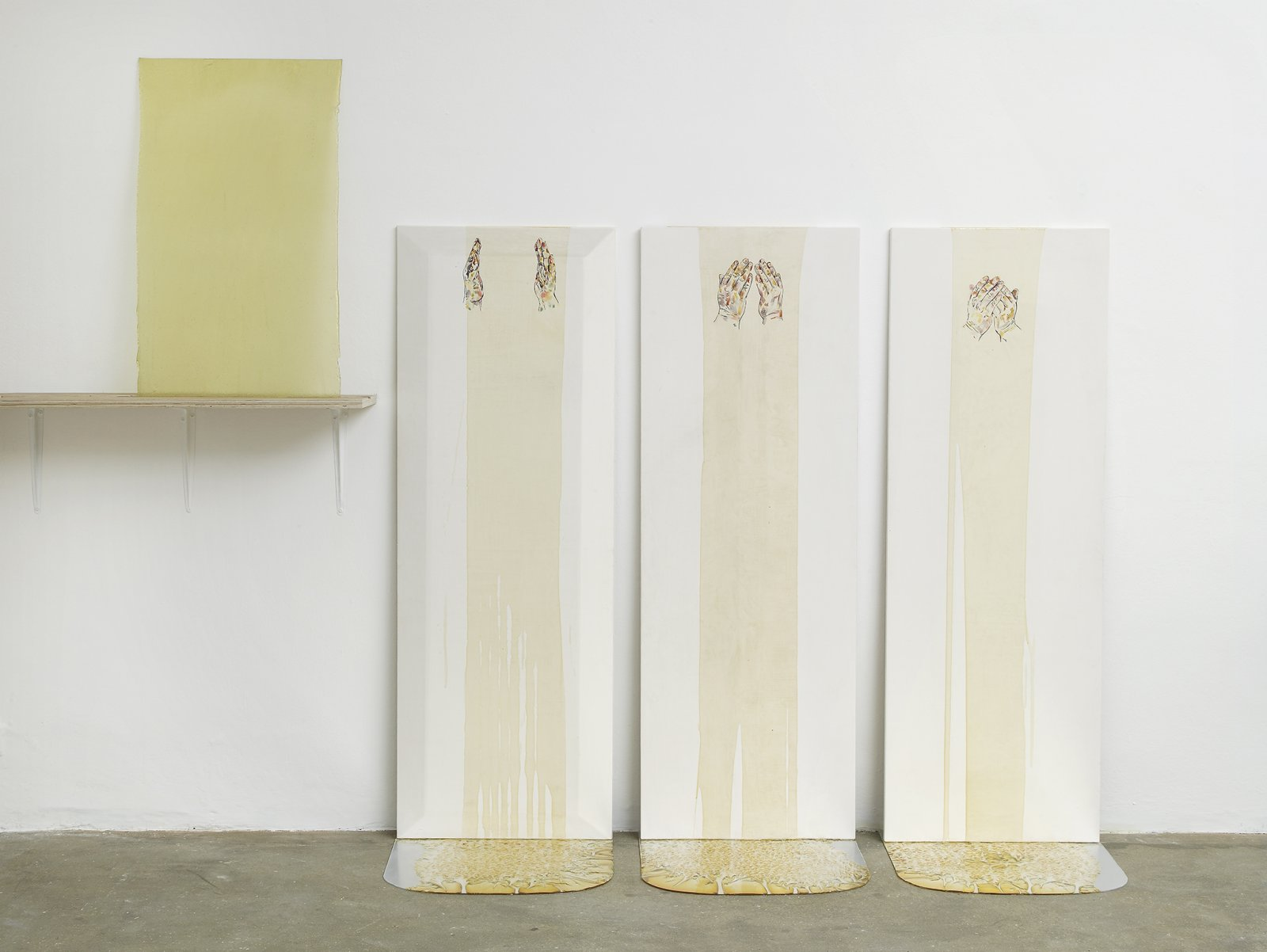 Christina Mackie, Dissembling, 2012, watercolour, gesso, perspex, varnish, dimensions variable. Installation view, Painting the Weights, Chisehale Gallery, London, UK, 2012 by Christina Mackie