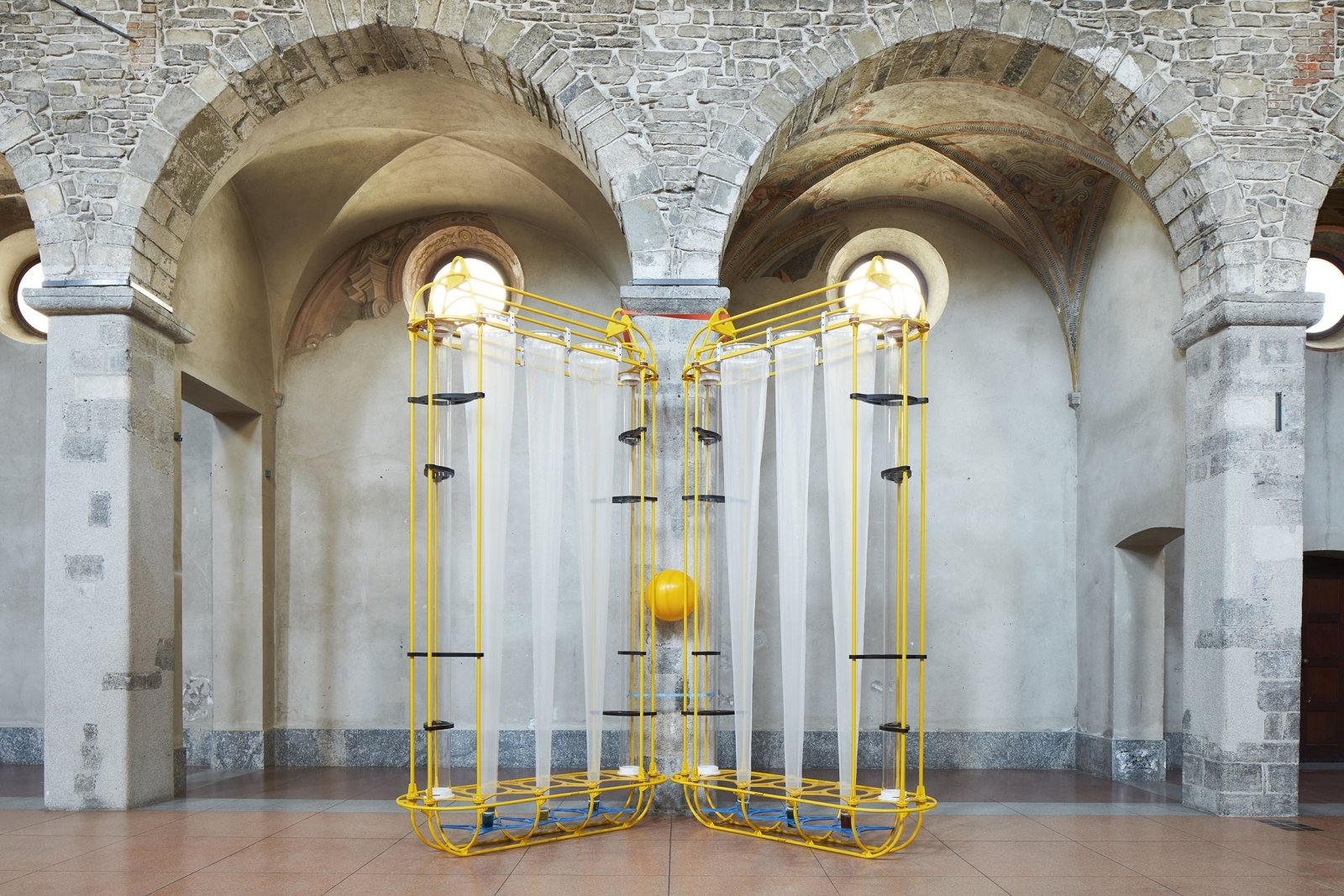 Christina Mackie, The Yellow Machines, 2015, mixed media, dimensions variable. Installation view, People Powder, ex Chiesa di San Francesco, Como, 2018 by Christina Mackie