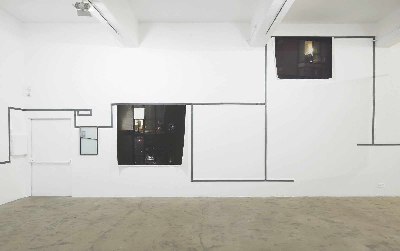 Christina Mackie, Us, The Residents, 2011–2012, mixed media, dimensions variable. Installation view, Painting the Weights, Chisenhale Gallery, London, UK, 2012 by Christina Mackie