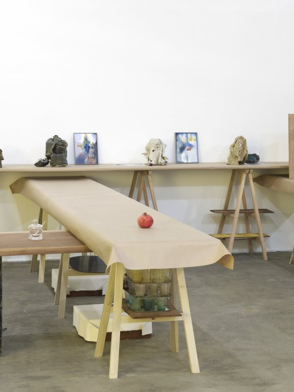 Christina Mackie, The Judges II (detail), 2011–2012, mixed media, dimensions variable. Installation view, Painting the Weights, Chisenhale Gallery, London, UK, 2012