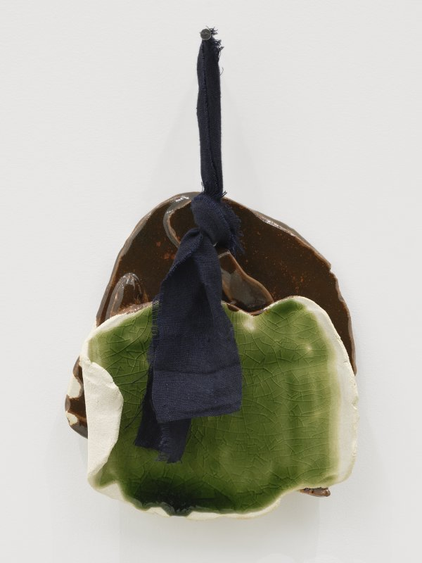 Christina Mackie, Token no. 11, 2019, stoneware, linen, nail, 14 x 9 in. (35 x 22 cm)