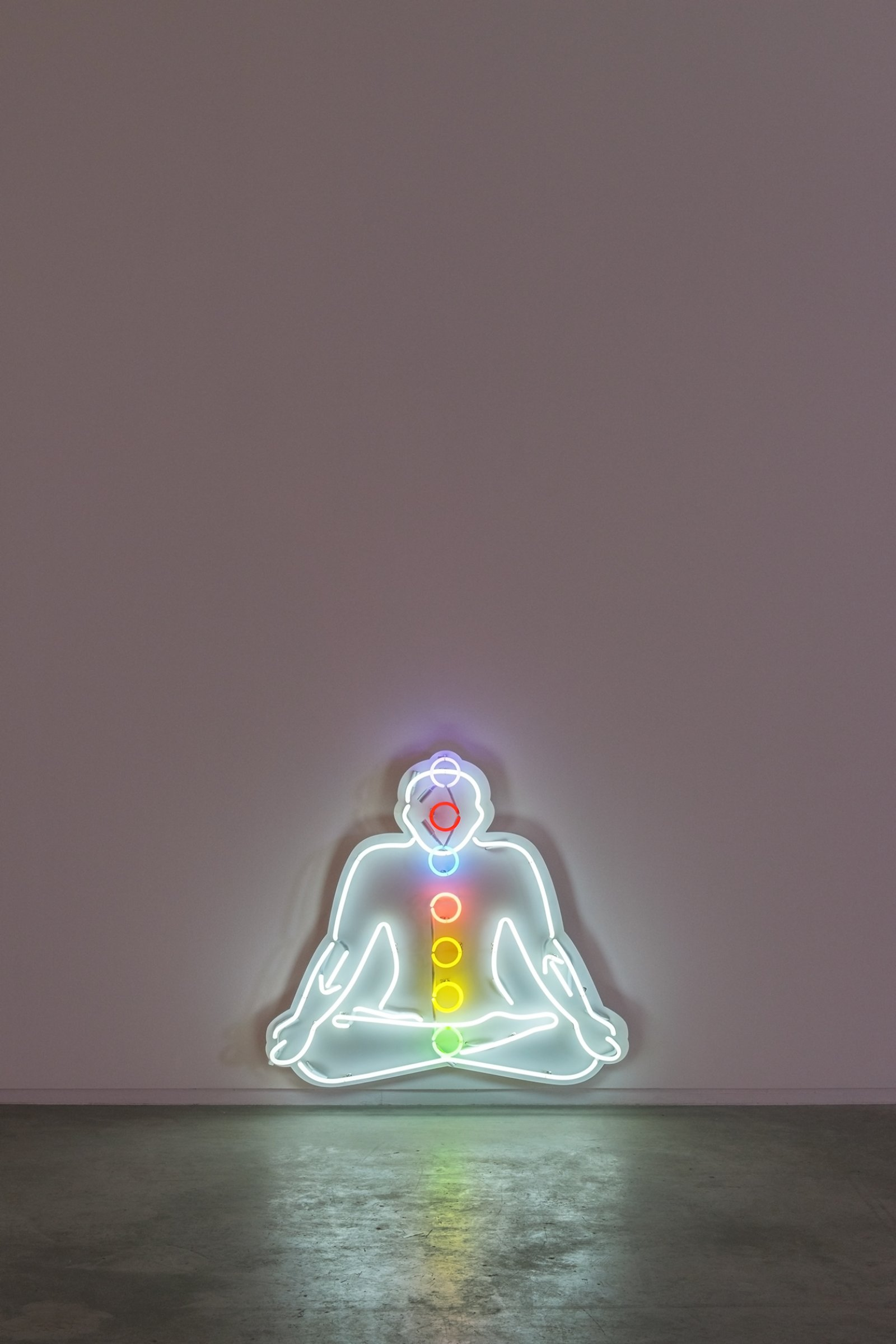 Myfanwy MacLeod, Seated Figure, 2015, neon, 44 x 48 x 5 in. (112 x 122 x 13 cm) by Myfanwy MacLeod