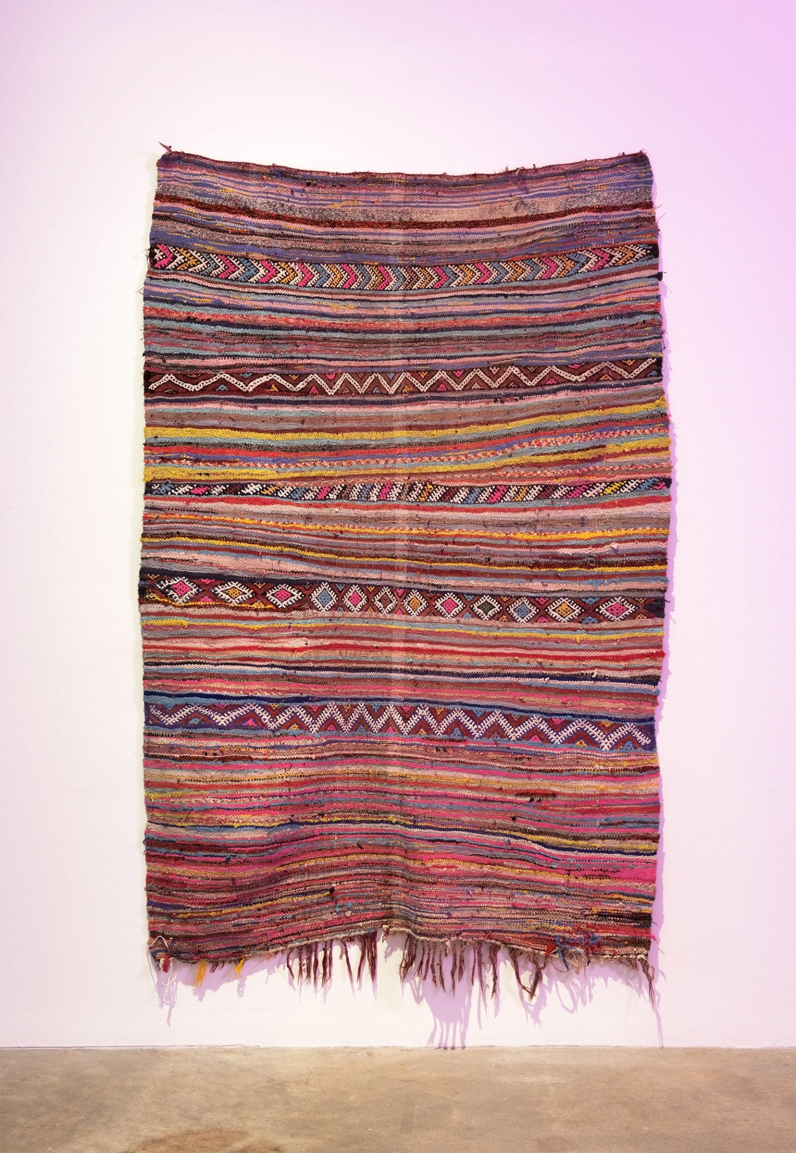 Myfanwy MacLeod, bouwakhkhiya, 2015, vintage hand-woven Moroccan Boucherouite rug, 74 x 47 in. (188 x 119 cm) by Myfanwy MacLeod
