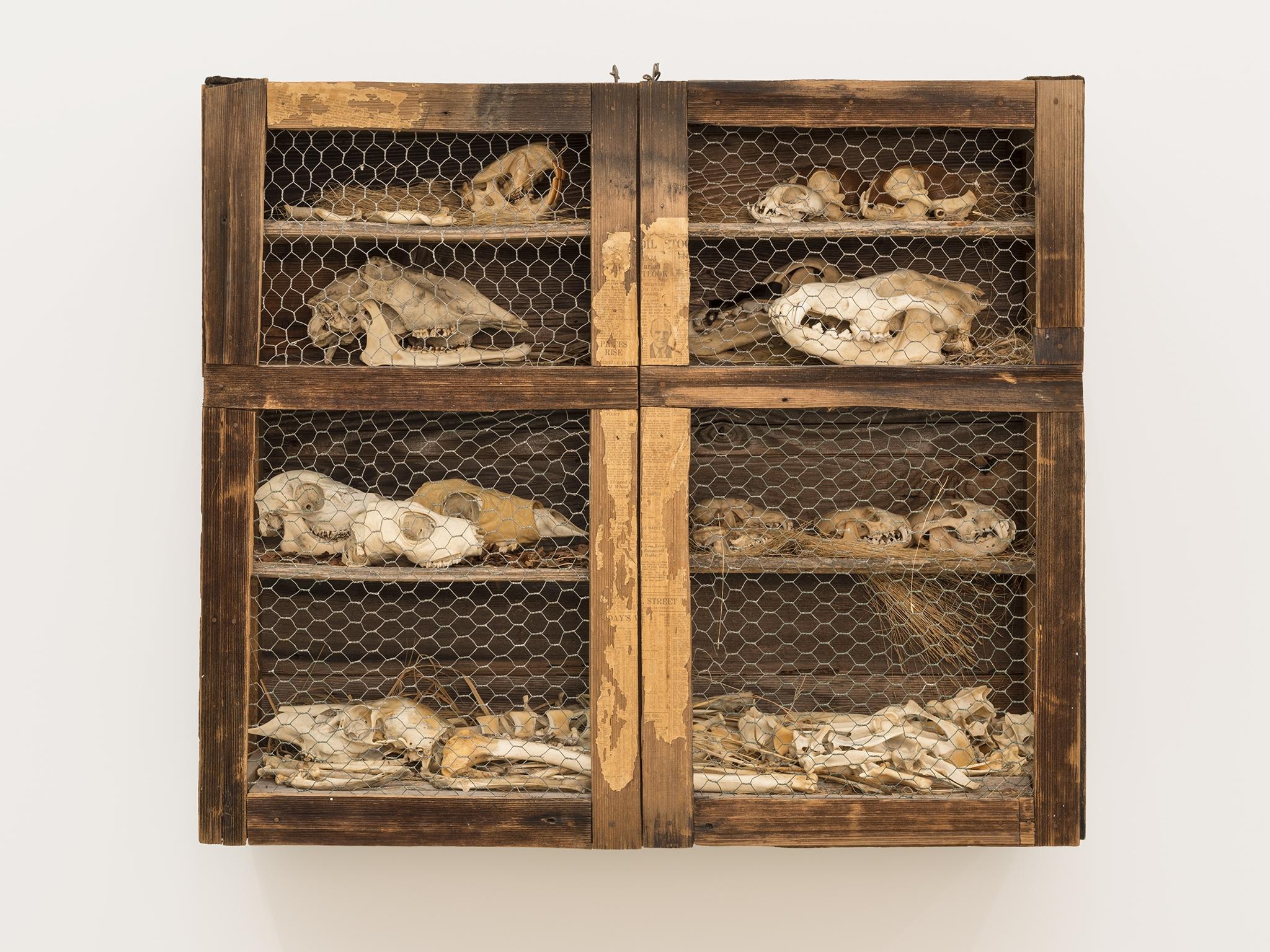 Liz Magor, The Hutch, 1976, natural materials, wood, bones, 33 x 38 x 15 in. (84 x 97 x 38 cm) by
