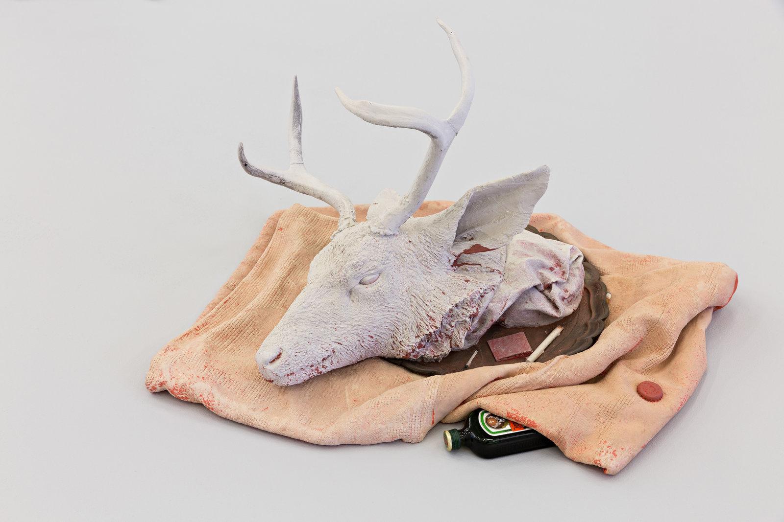 Liz Magor, Buck (Jagermeister), 2008, polymerized gypsum, liquor, 16 x 30 x 26 in. (41 x 76 x 66 cm) by Liz Magor