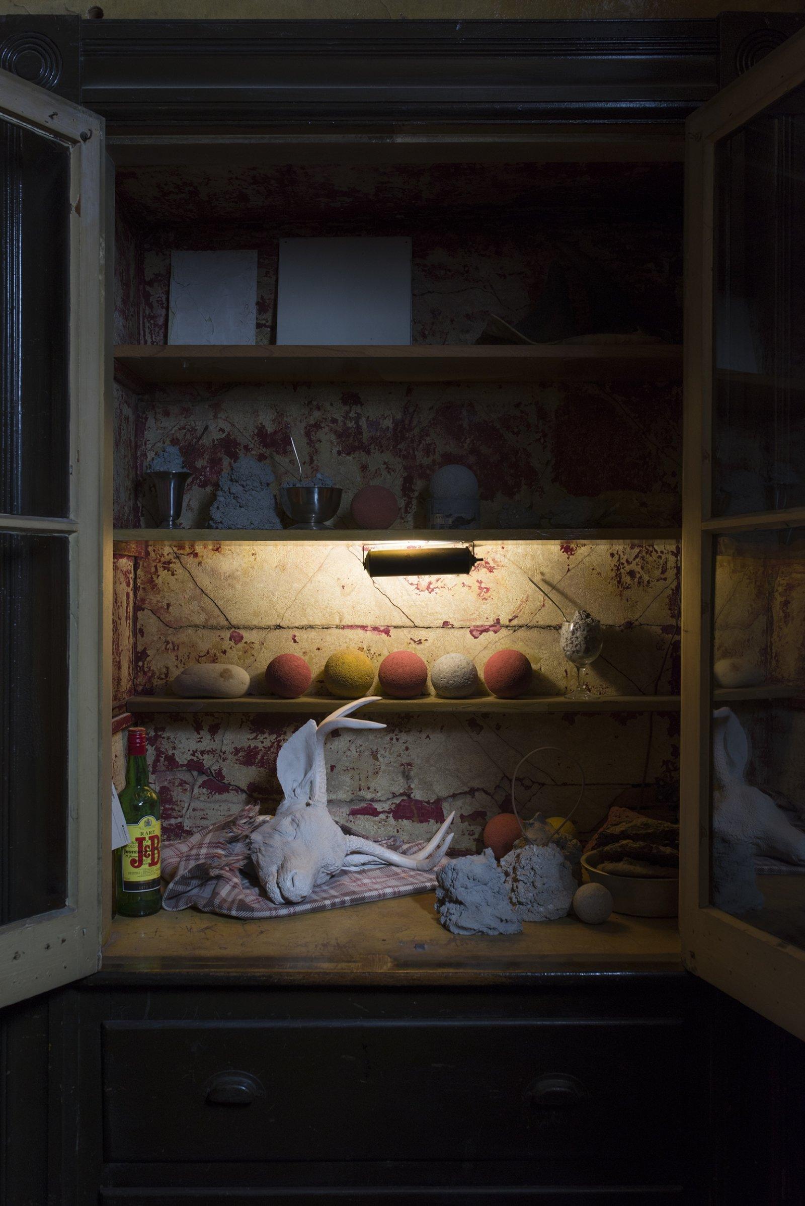 Liz Magor, Buck, 2008, polymerized gypsum, cotton, 16 x 30 x 26 in. (41 x 76 x 61 cm). Installation view, TIMESHARE, The David Ireland House, 500 Capp Street Foundation, San Francisco, USA, 2019 by Liz Magor