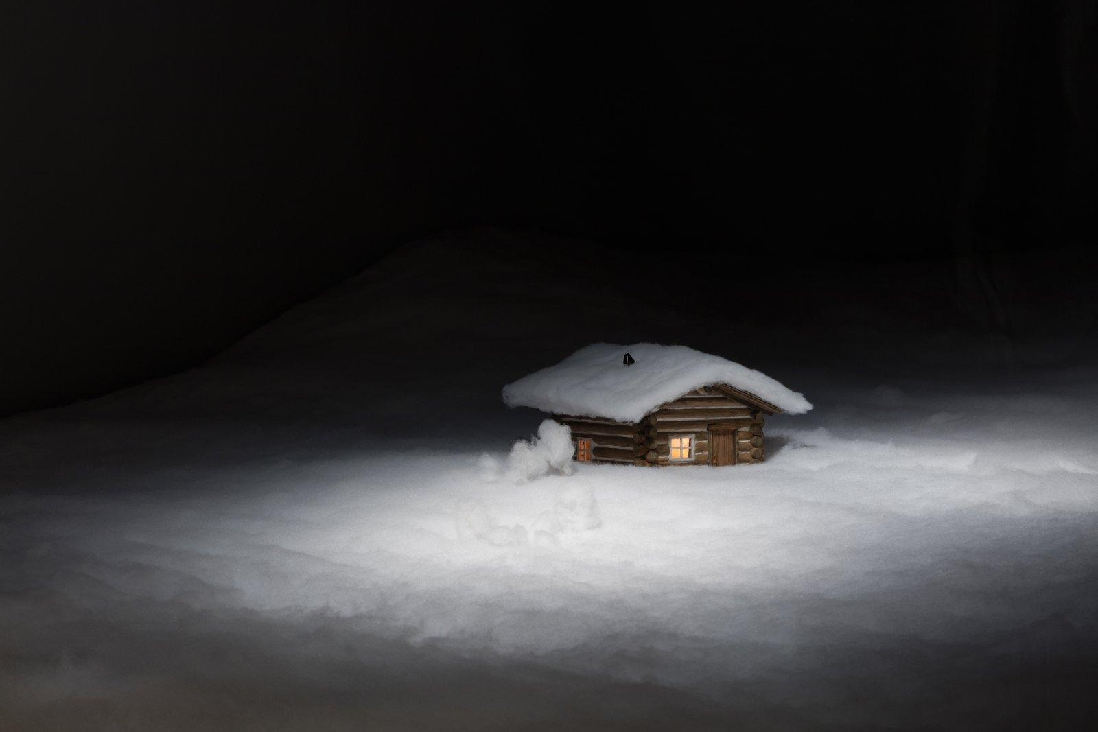 Liz Magor, Cabin in the Snow (detail), 1989, fabric, model log cabin, dimensions variable. Installation view, Habitude, Musée d'art contemporain de Montréal, 2016 by Liz Magor