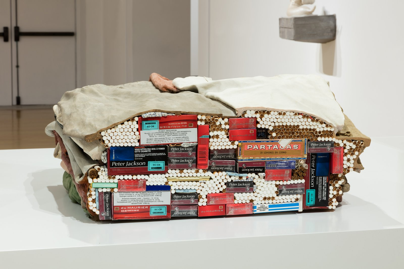 Liz Magor, Carton II, 2006, polymerized gypsum, tobacco, gum, matches, and lighters, 11 x 21 x 19 in. (29 x 53 x 48 cm). Installation view, Habitude, Musée d'art contemporain de Montréal, 2016 by Liz Magor