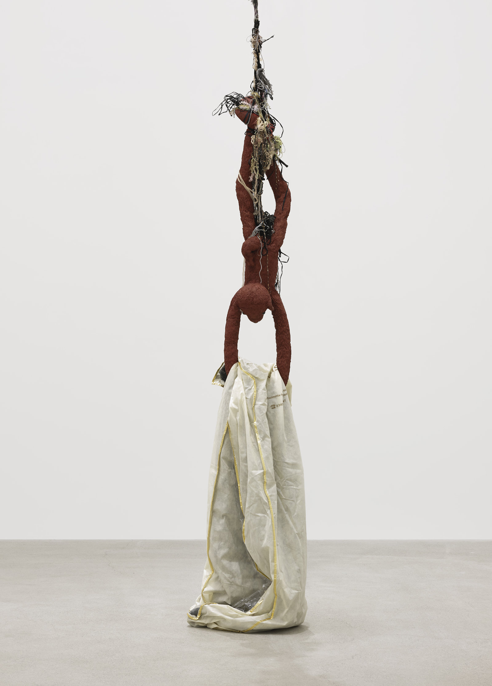 Liz Magor, Delivery (red), 2018, silicone rubber, textiles, twine, 325 x 26 x 23 in. (826 x 66 x 58 cm) by Liz Magor