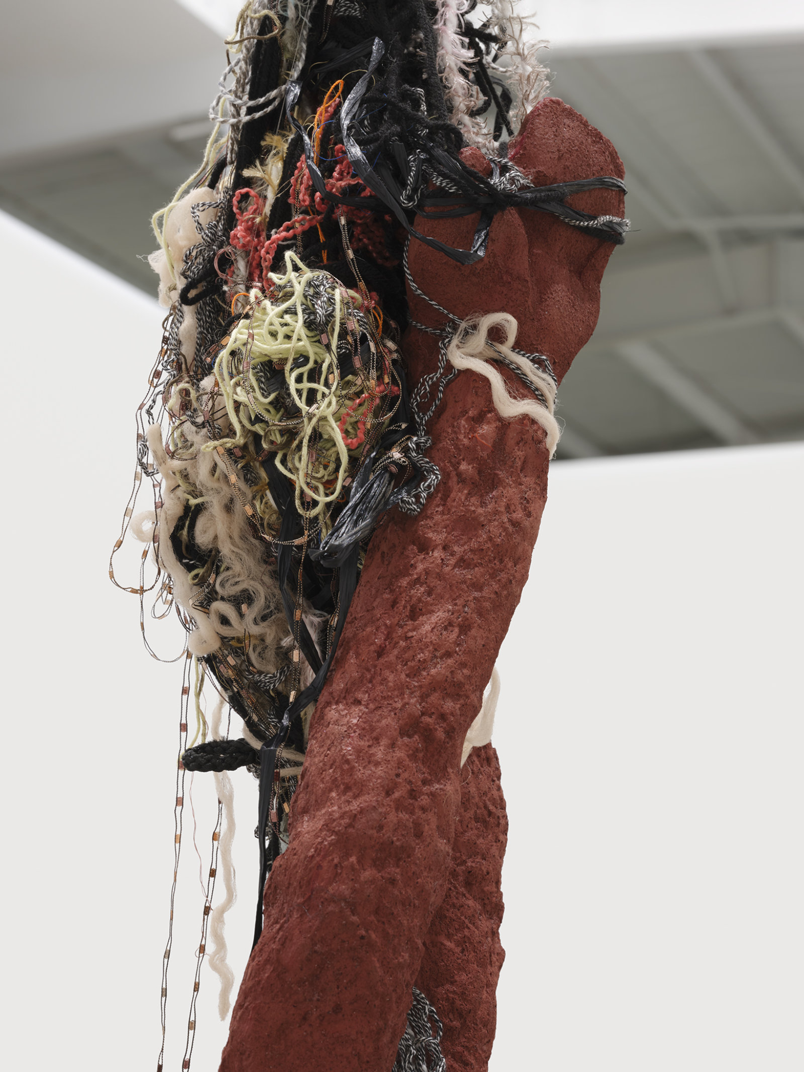 Liz Magor, Delivery (red) (detail), 2018, silicone rubber, textiles, twine, 325 x 26 x 23 in. (826 x 66 x 58 cm) by Liz Magor