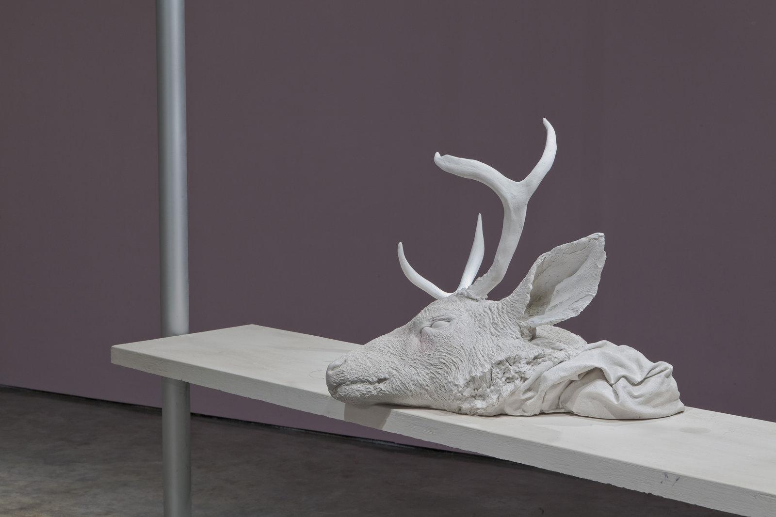 Liz Magor, Bedside, 2007, polymerized gypsum, hardware, lighting fixture, 109 x 17 x 73 in. (305 x 244 x 46 cm) by Liz Magor