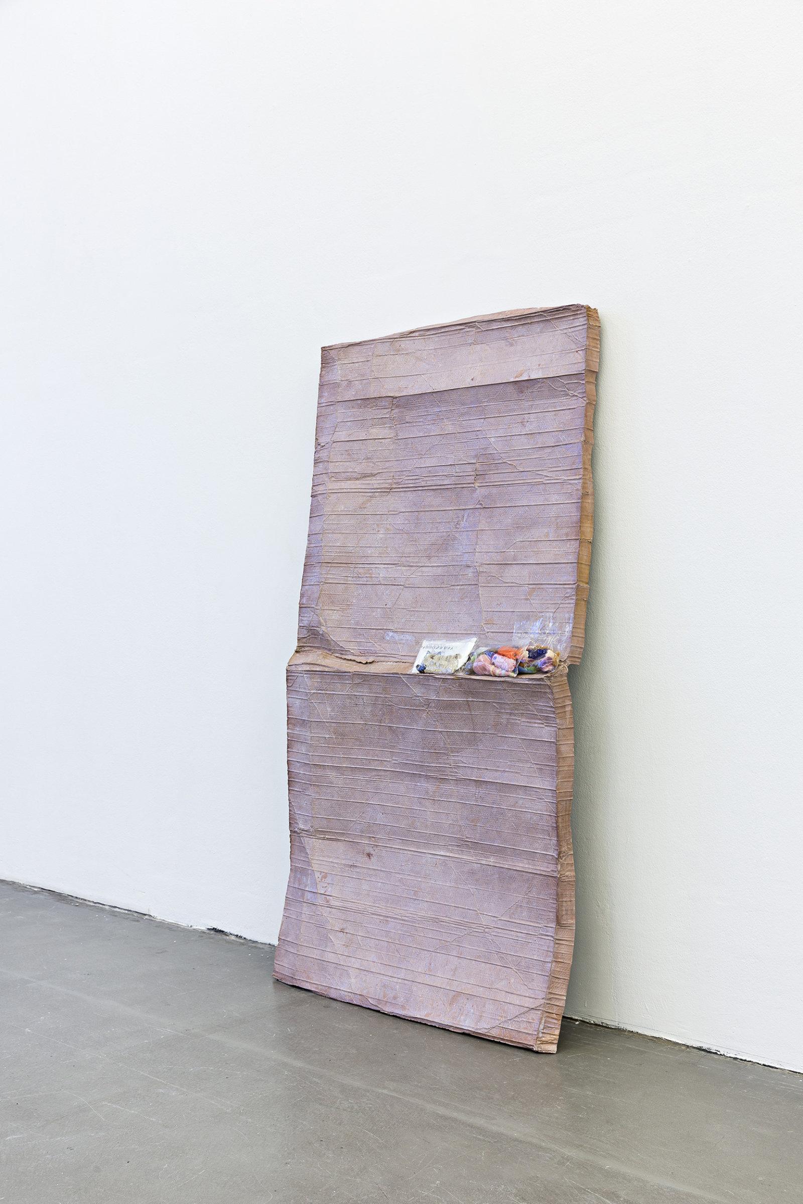 Liz Magor, Felt Family, 2016, polymerized gypsum, wool, hair, plastic, metal, 82 x 43 x 5 in. (208 x 110 x 13 cm) by Liz Magor