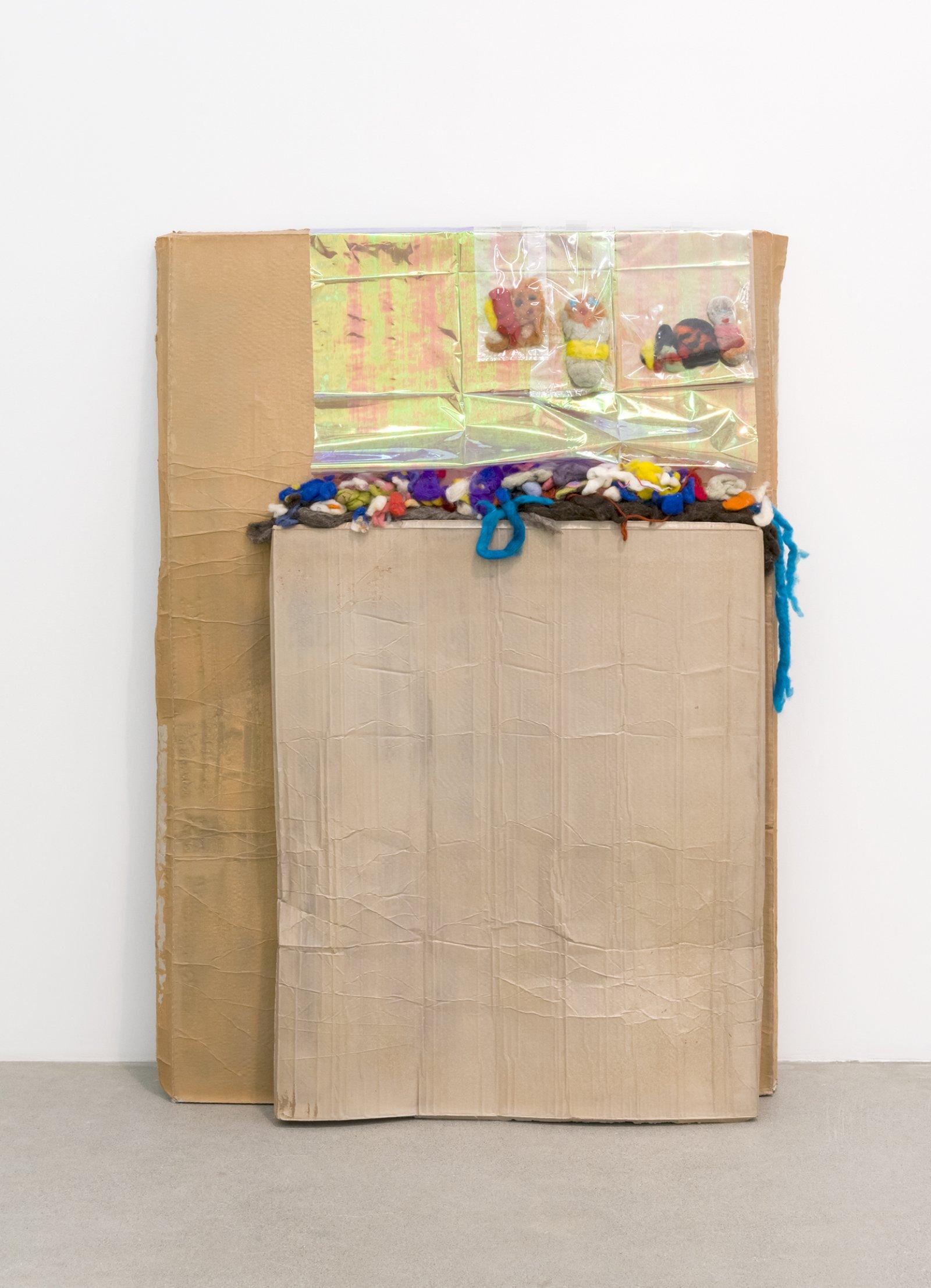 Liz Magor, Felt People, 2016, polymerized gypsum, wool, plastic bags, plastic sheet, 61 x 43 x 14 in. (155 x 109 x 34 cm) by Liz Magor