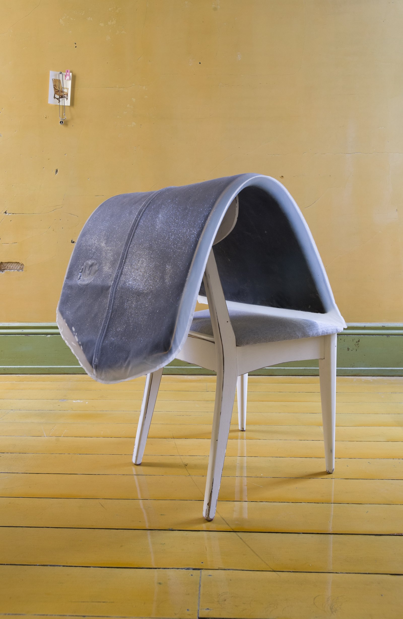 Liz Magor, Formal II, 2012, platinum-cure silicone rubber, chair, 32 x 24 x 26 in. (81 x 61 x 66 cm). Installation view, TIMESHARE, The David Ireland House, 500 Capp Street Foundation, San Francisco, USA, 2019 by Liz Magor