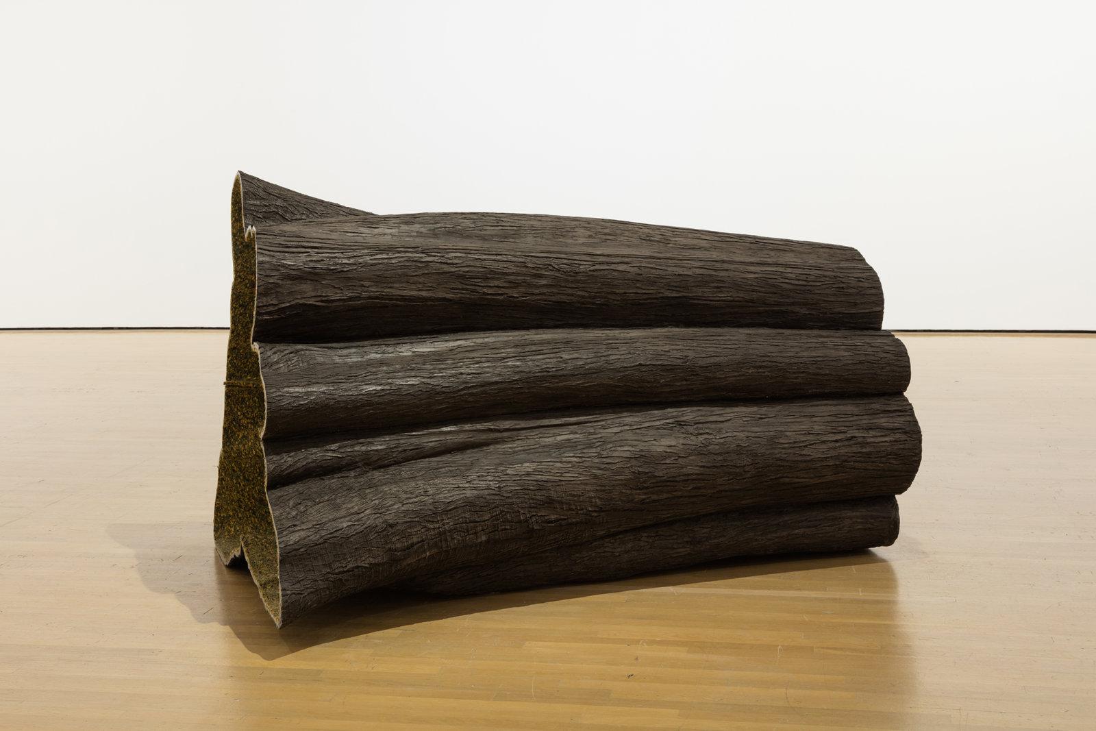 Liz Magor, Hollow, 1998–1999, polymerized gypsum, textile, foam, 72 x 42 x 48 in. (183 x 107 x 122 cm). Installation view, Habitude, Musée d'art contemporain de Montréal, 2016 by Liz Magor