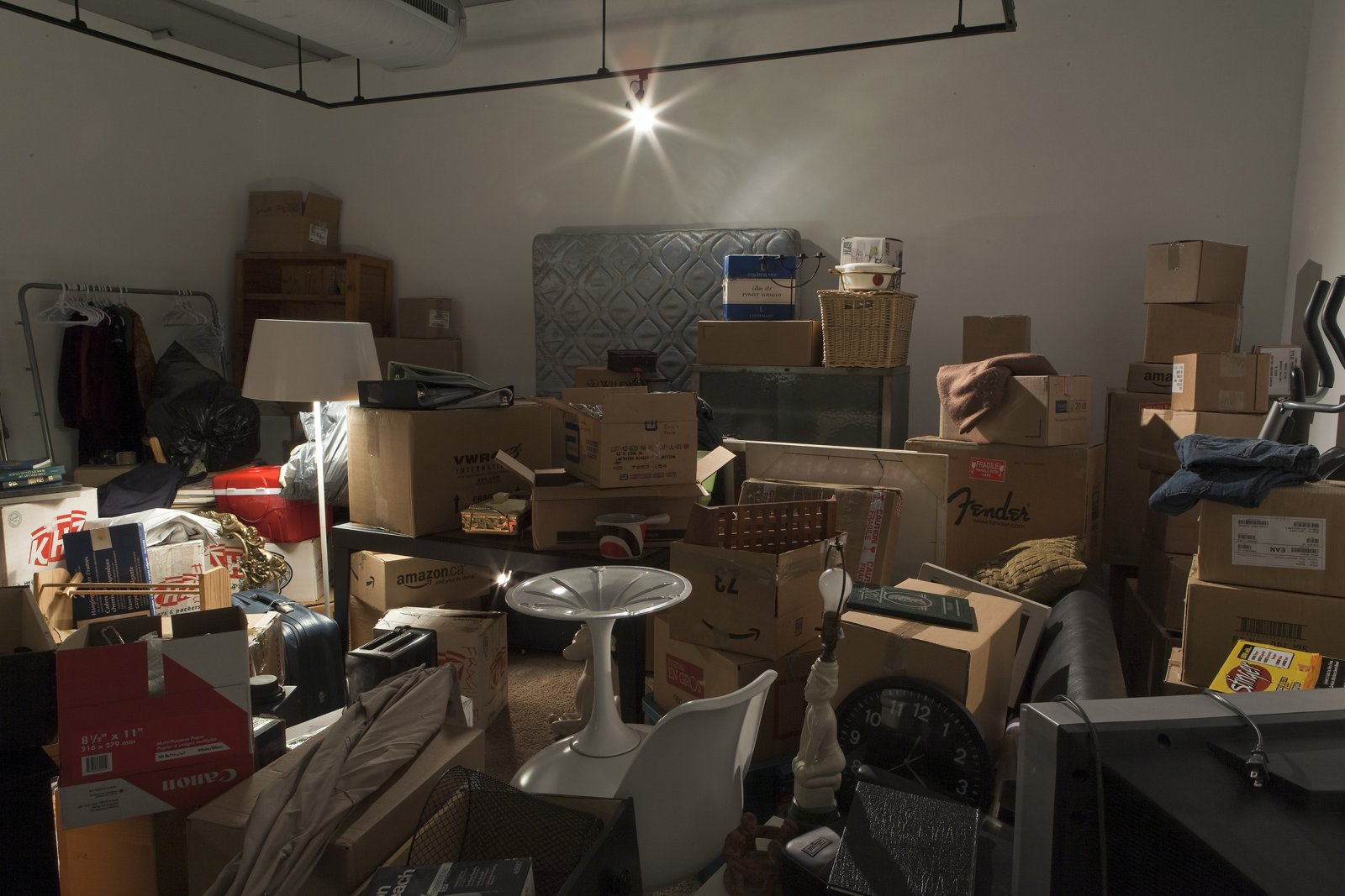 Liz Magor, One Bedroom Apartment (detail), 1996, polyester resin, contents of a one-bedroom apartment, dimensions variable. Installation view, Storage Facilities, Doris McCarthy Gallery, Scarborough, ON, 2009 by Liz Magor