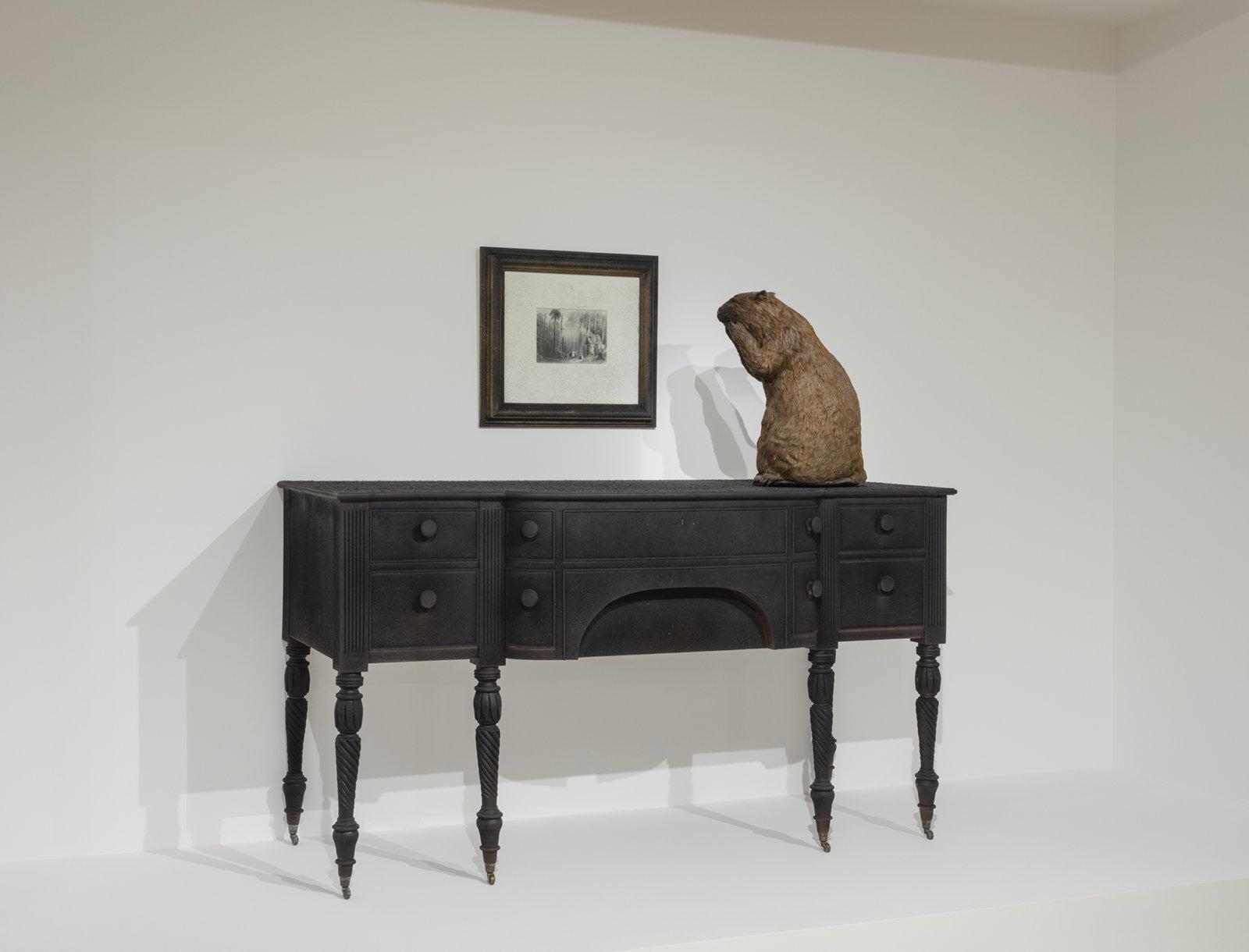 Liz Magor, Provincial Sideboard, 1993, mixed media, 67 x 72 x 30 in. (169 x 183 x 76 cm). Installation view, Habitude, Musée d'art contemporain de Montréal, 2016 by Liz Magor