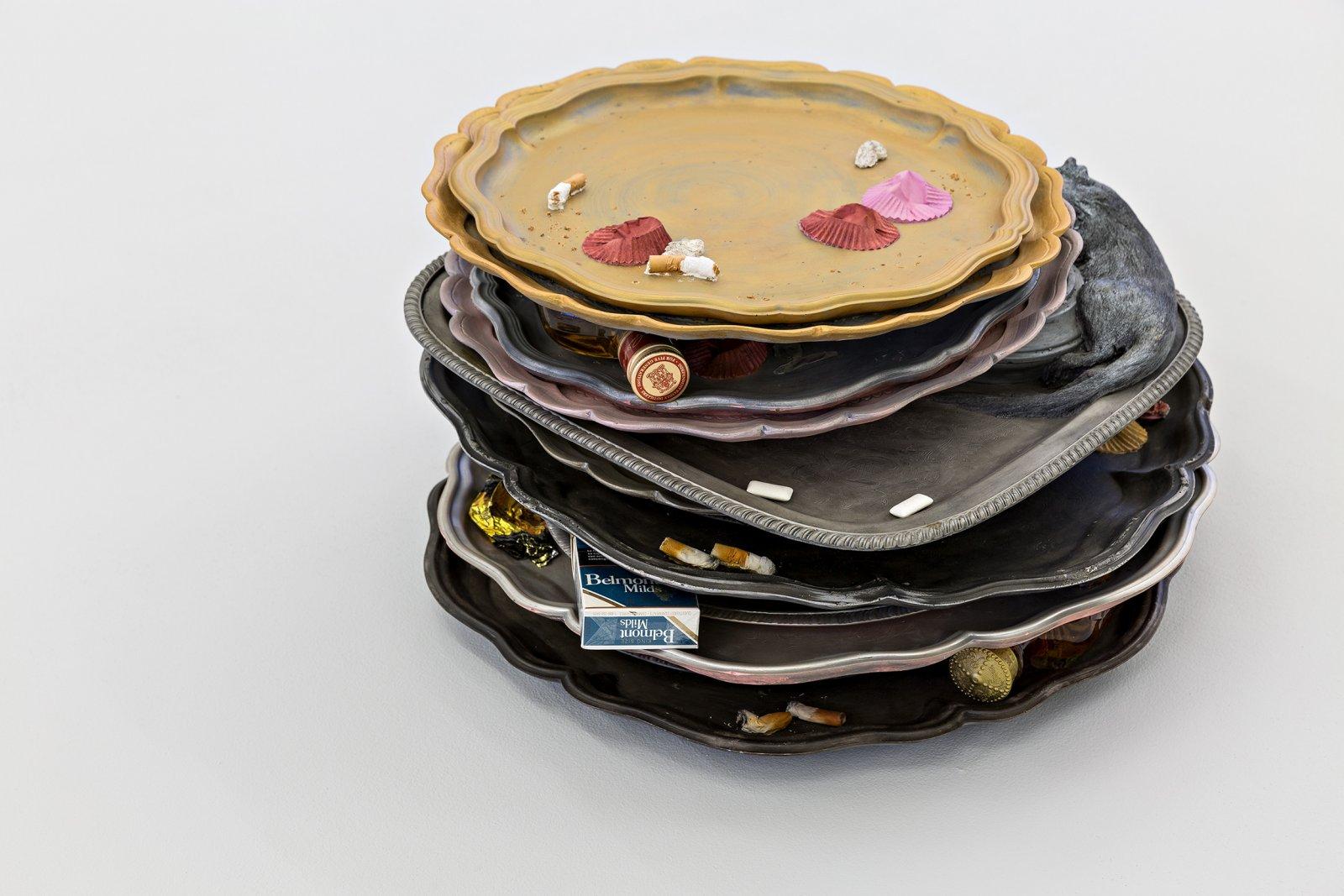 Liz Magor, Stack of Trays, 2008, polymerized gypsum, chewing gum, found objects, 10 x 18 x 19 in. (25 x 45 x 47 cm) by Liz Magor