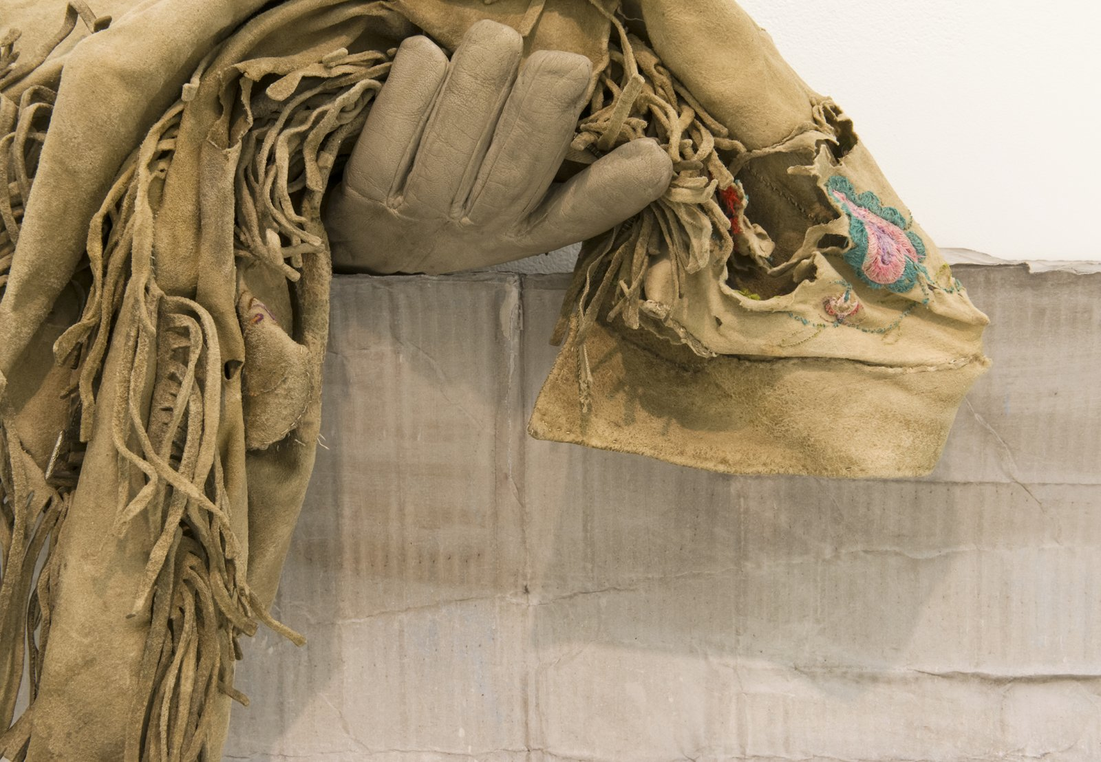 Liz Magor, Still Alive (detail), 2016, polymerized gypsum, deerskin jacket, 19 x 34 x 11 in. (48 x 86 x 27 cm) by Liz Magor