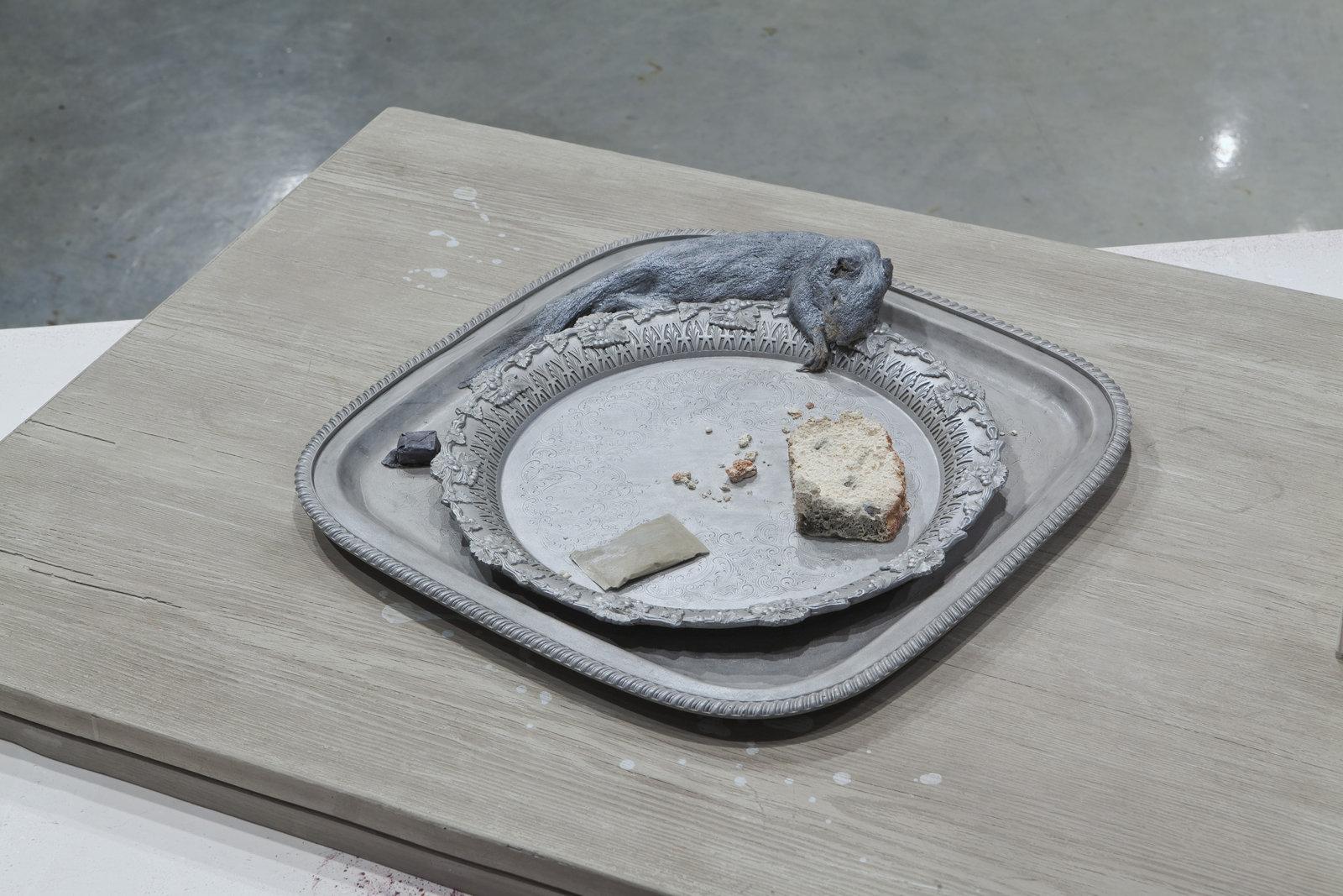 Liz Magor, Squirrel (cake), 2008, polymerized gypsum, 5 x 24 x 32 in. (13 x 61 x 81 cm) by Liz Magor
