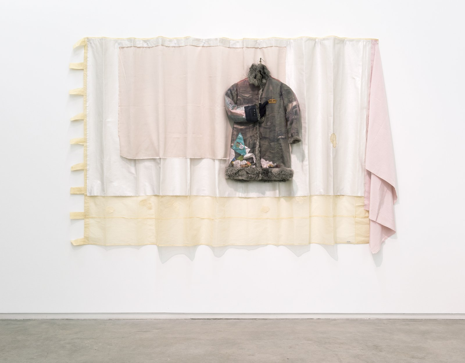 Liz Magor, Study for a Farce, 2012, textile, fur, found objects, 60 x 96 x 8 in. (152 x 244 x 20 cm) by Liz Magor