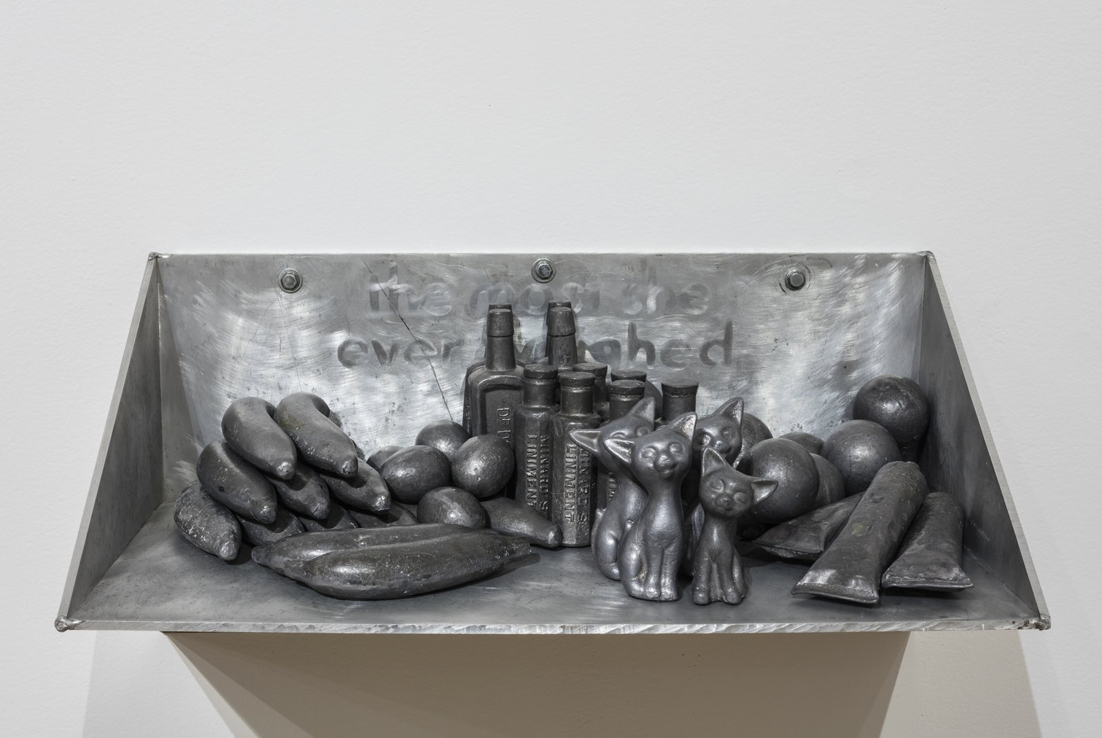 Liz Magor, The Most She Weighed / The Least She Weighed, 1982, lead, aluminum, 15 x 30 x 15 in. (38 x 77 x 38 cm), 12 x 24 x 12 in. (31 x 62 x 31 cm) by Liz Magor