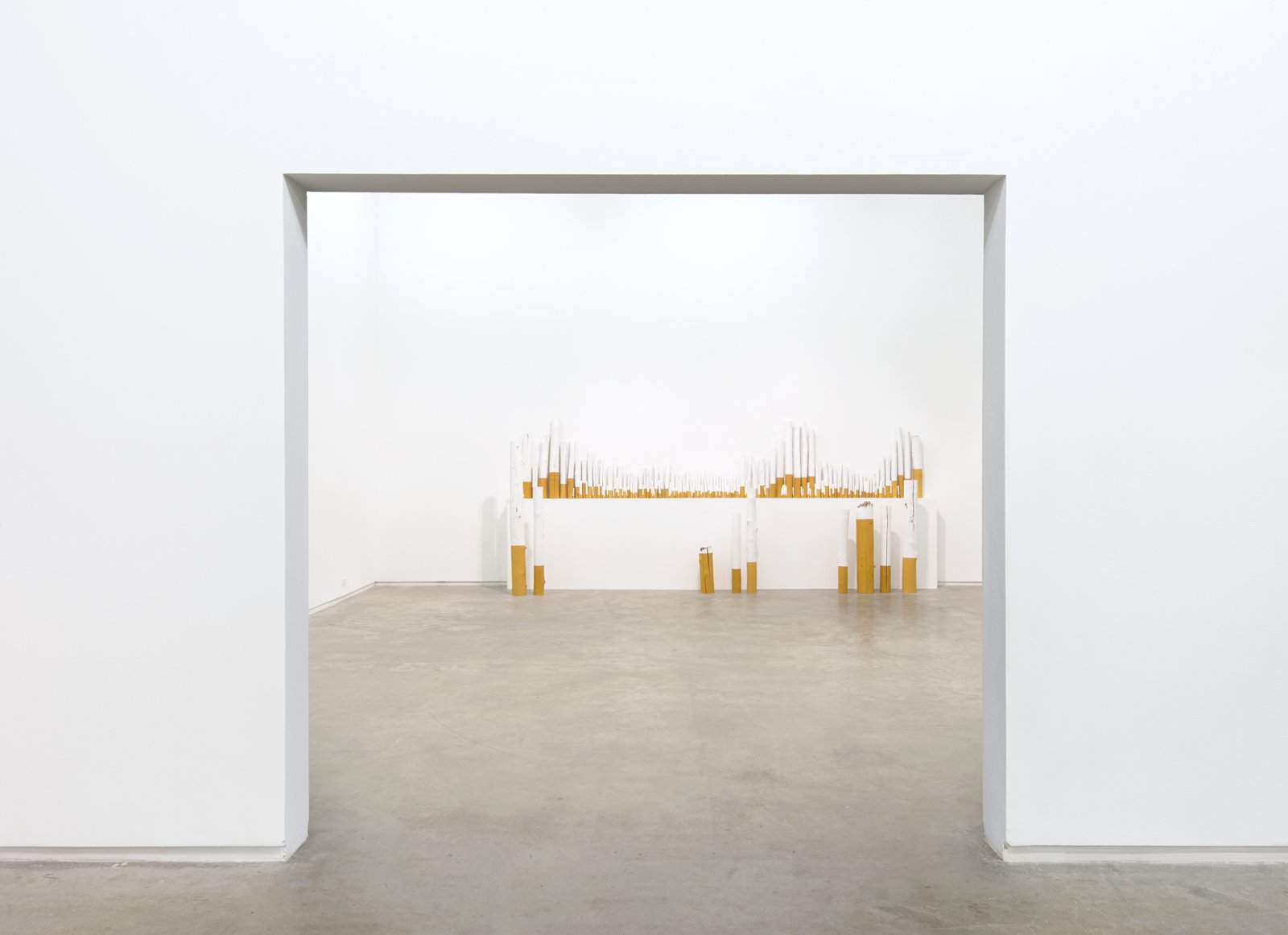 Liz Magor, The Rules, 2012, wood, paint, 38 x 180 x 10 in. (97 x 457 x 25 cm) by Liz Magor