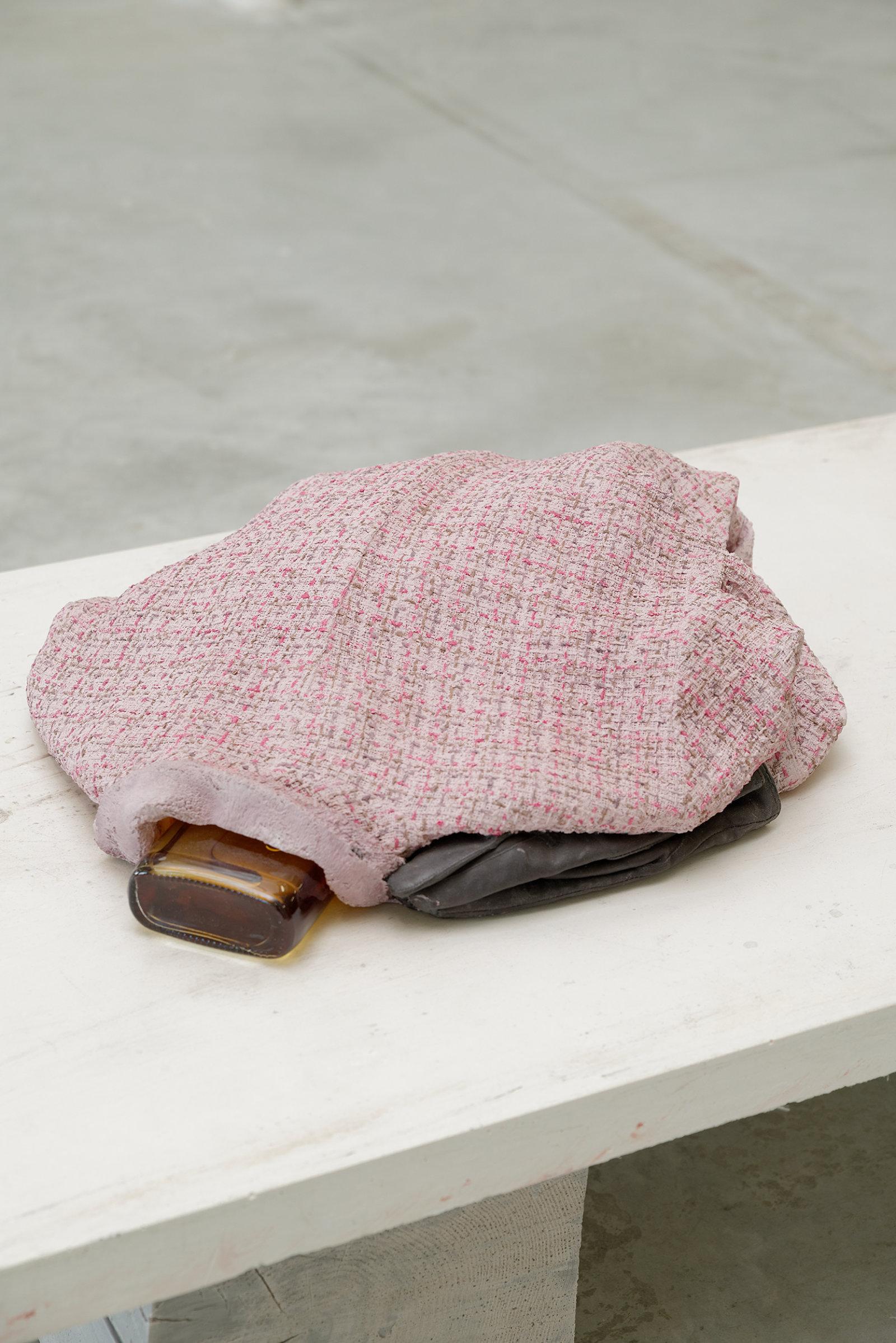 Liz Magor, Tweed (neck), 2008, polymerized gypsum, found object, 16 x 17 x 6 in. (41 x 41 x 14 cm) by Liz Magor