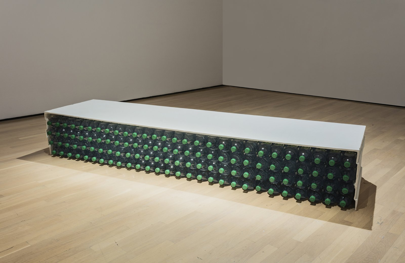 Liz Magor, Volvic, 2002, polymerized gypsum, bottled water, 15 x 96 x 24 in. (38 x 245 x 61 cm) by Liz Magor