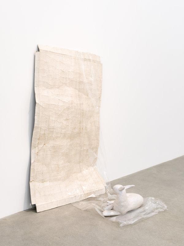 Liz Magor, Attachment, 2016, polymerized gypsum, cellophane, 65 x 43 x 39 in. (165 x 109 x 99 cm)