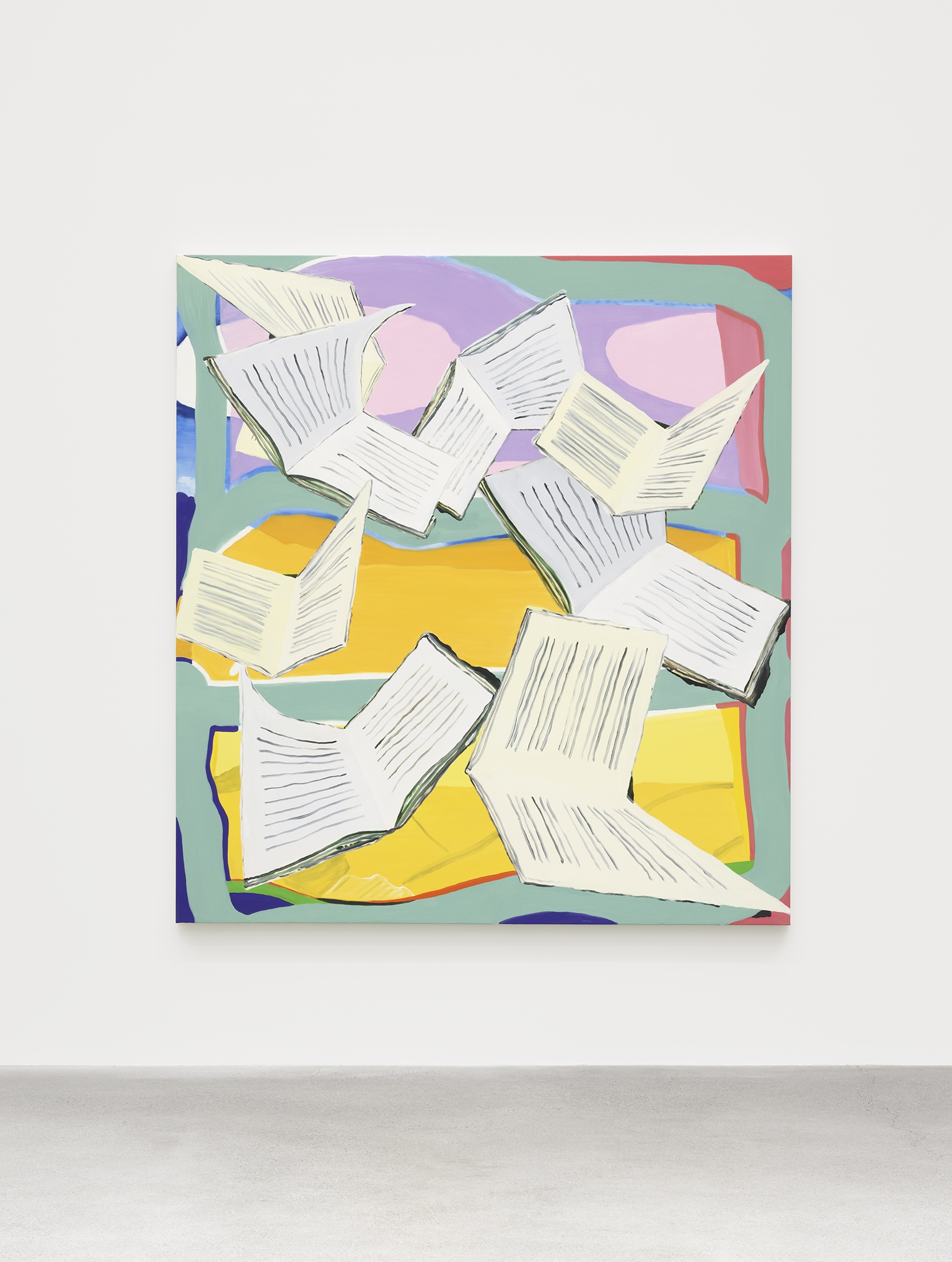Elizabeth McIntosh, Bookfly, 2019, oil on canvas, 78 x 72 in. (198 x 183 cm) by