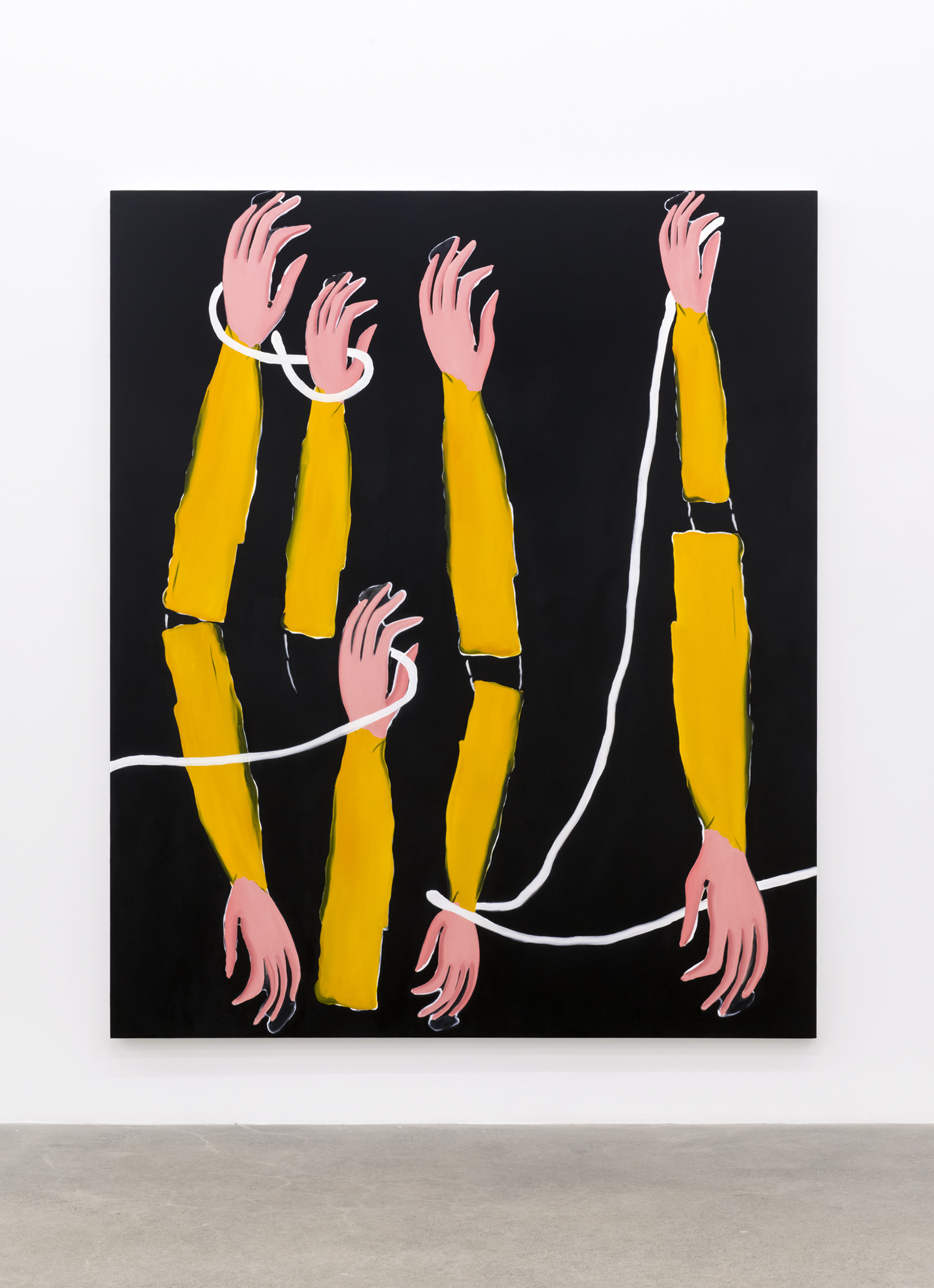 Elizabeth McIntosh, Out Hands Black, 2017, flashe and oil on canvas, 86 x 71 in. (217 x 181 cm)   by