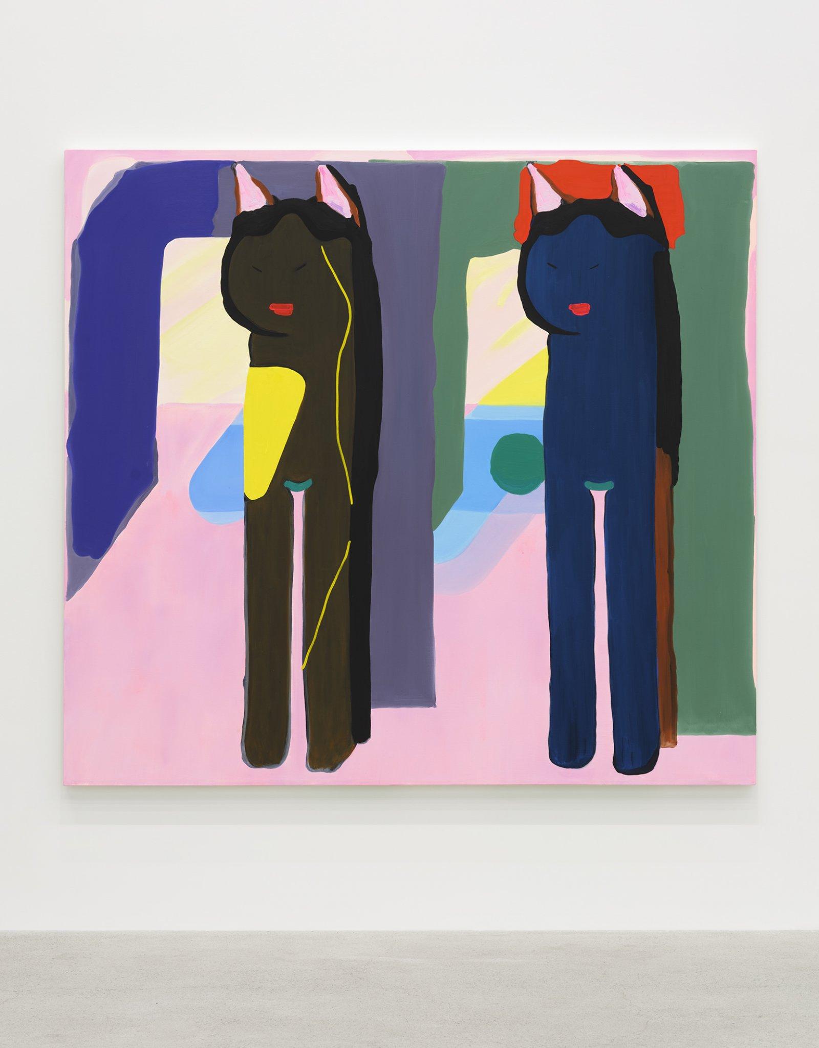 Elizabeth McIntosh, Cats, 2020, oil on canvas, 67 x 73 in. (170 x 185 cm) by Elizabeth McIntosh