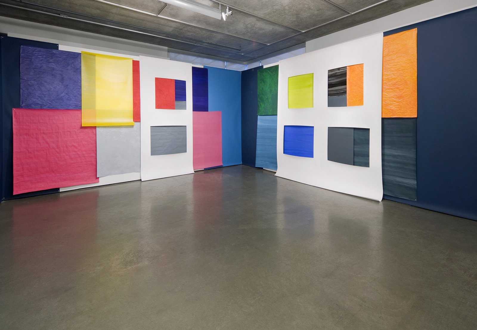 Elizabeth McIntosh, Colours From a Story, 2010, photo backdrop paper, vellum gouache, acrylic paint, dimensions variable. Installation view, Violet's Hair, Contemporary Art Gallery, Vancouver, 2010 by Elizabeth McIntosh
