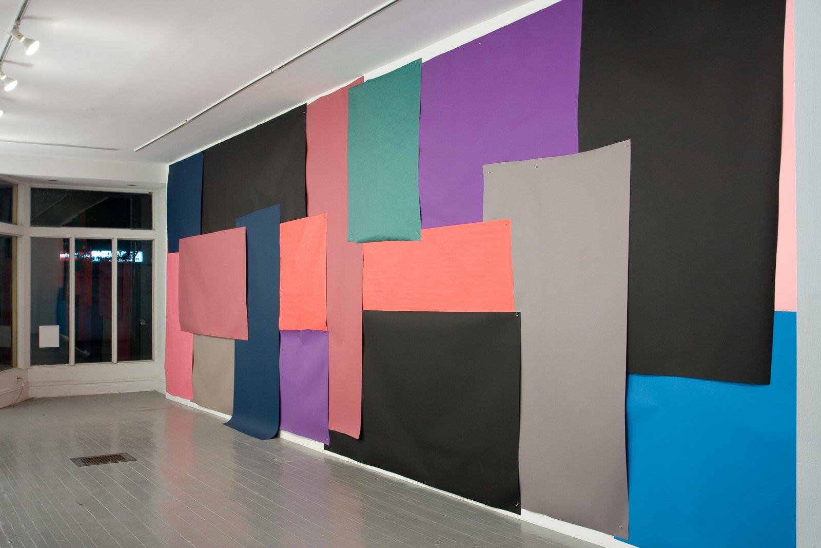 Elizabeth McIntosh, Cut Out, 2009, photo backdrop paper and aluminum push pins, 180 x 216 in. (457 x 549 cm) by Elizabeth McIntosh