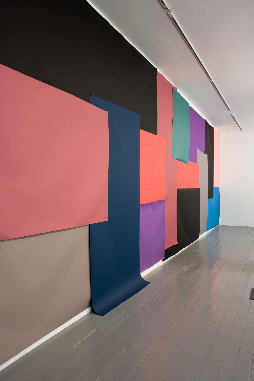 Elizabeth McIntosh, Cut Out (detail), 2009, photo backdrop paper and aluminum push pins, 180 x 216 in. (457 x 549 cm) by Elizabeth McIntosh