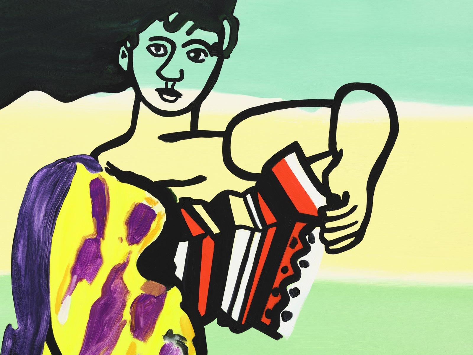 Elizabeth McIntosh, The Accordion Player (detail), 2020, oil on canvas, 69 x 62 in. (175 x 158 cm) by Elizabeth McIntosh